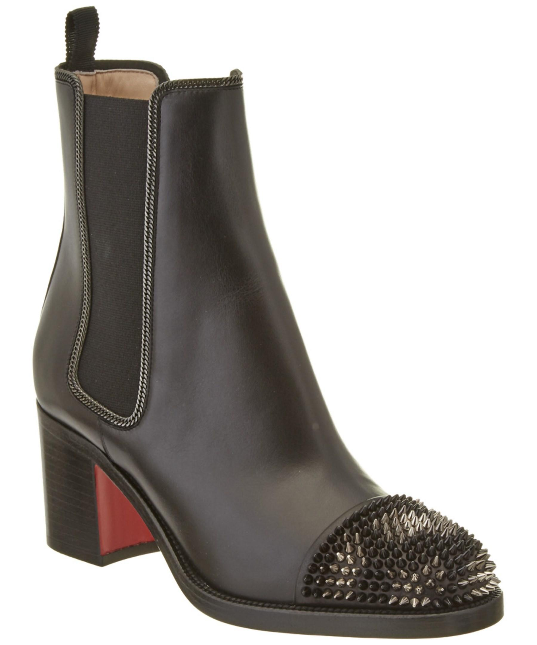 christian louboutin otaboo 70 spiked toe leather boot in