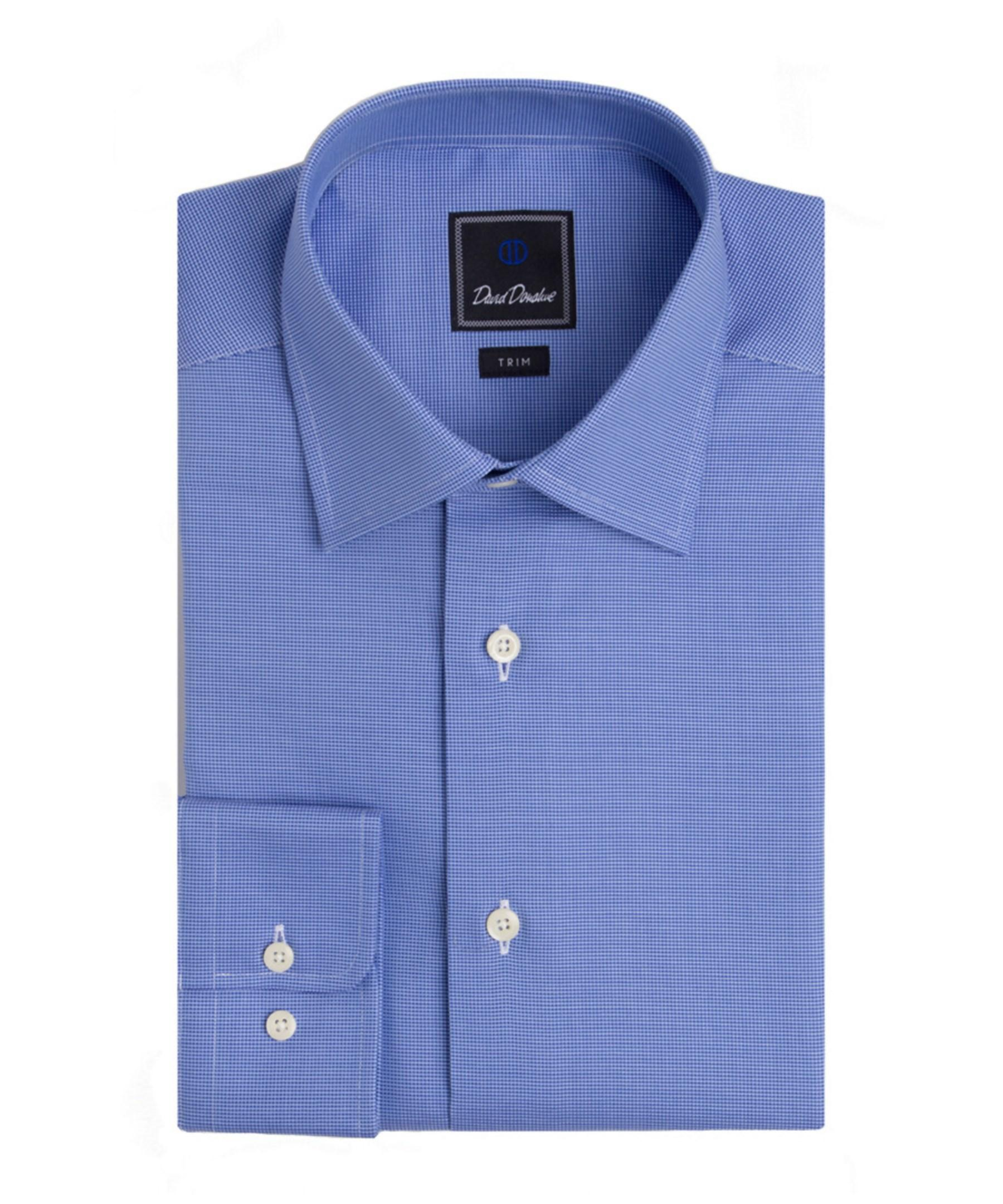 david donahue trim fit dress shirt in blue for men lyst