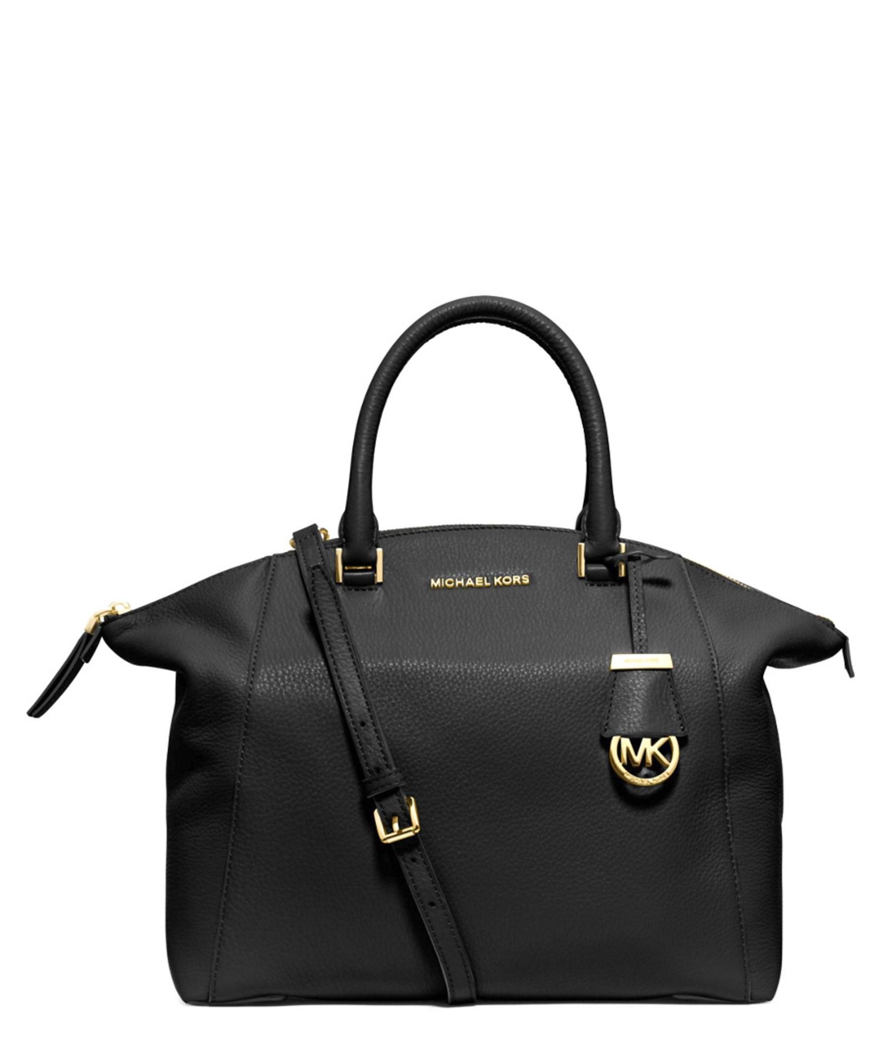 Michael Kors Riley Laukku : Michael kors riley large leather satchel in black