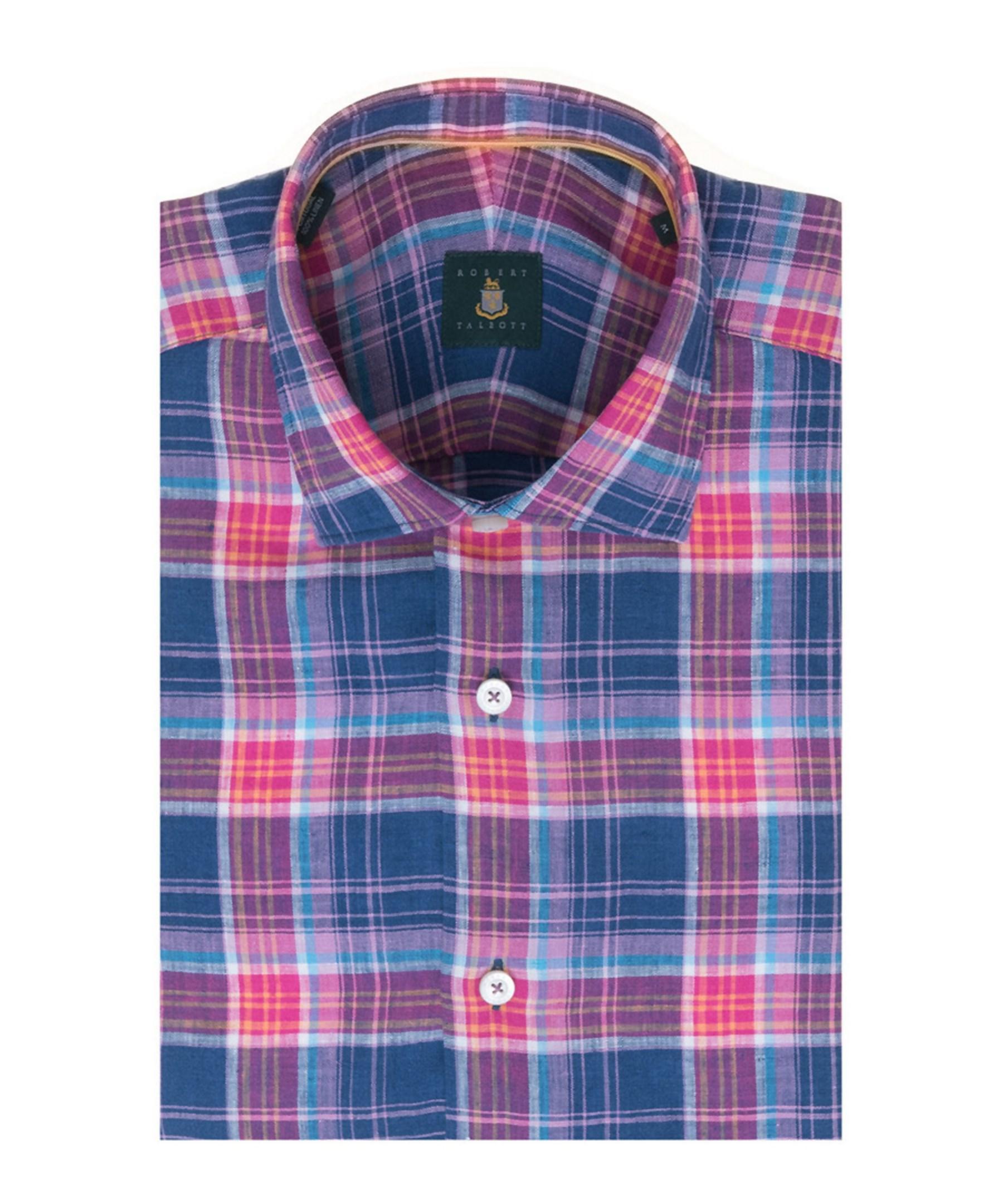 Robert talbott crespi iii tailored fit woven shirt in blue for Robert talbott shirts sale