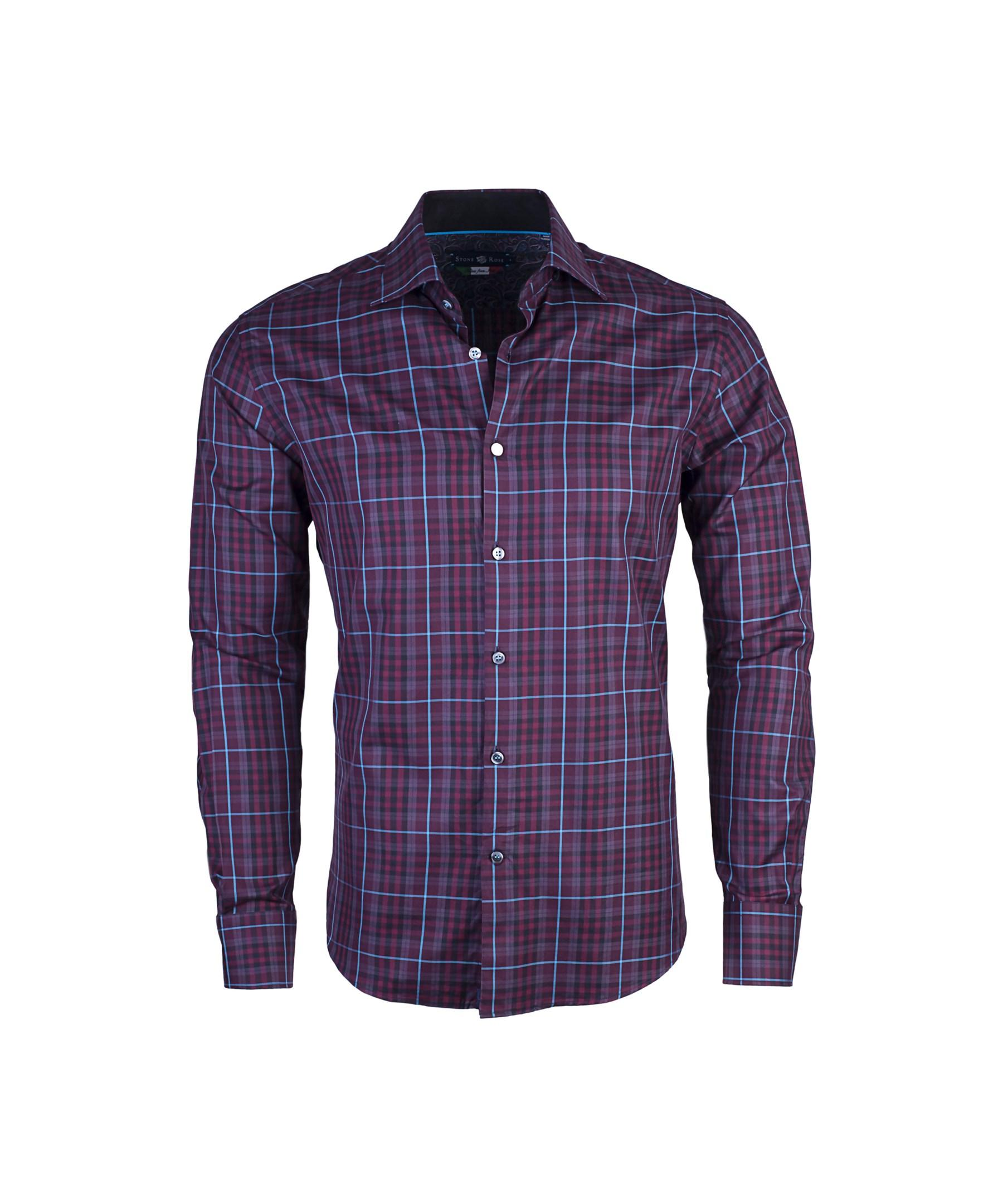 Stone rose men 39 s plaid button up shirt in burgundy in for Purple plaid button up shirt