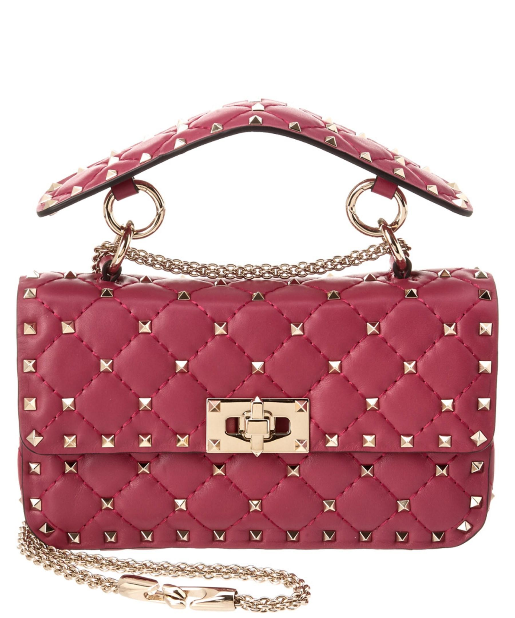 Valentino Rockstud Spike Small Leather Chain Bag In Pink