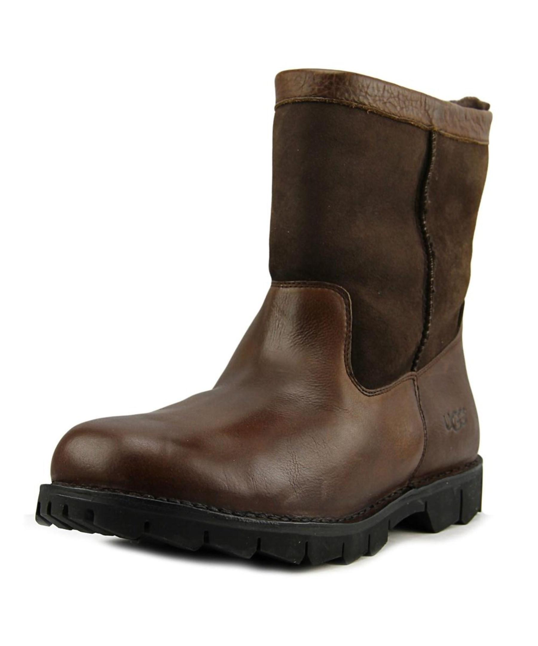 ugg m beacon toe leather brown winter boot in