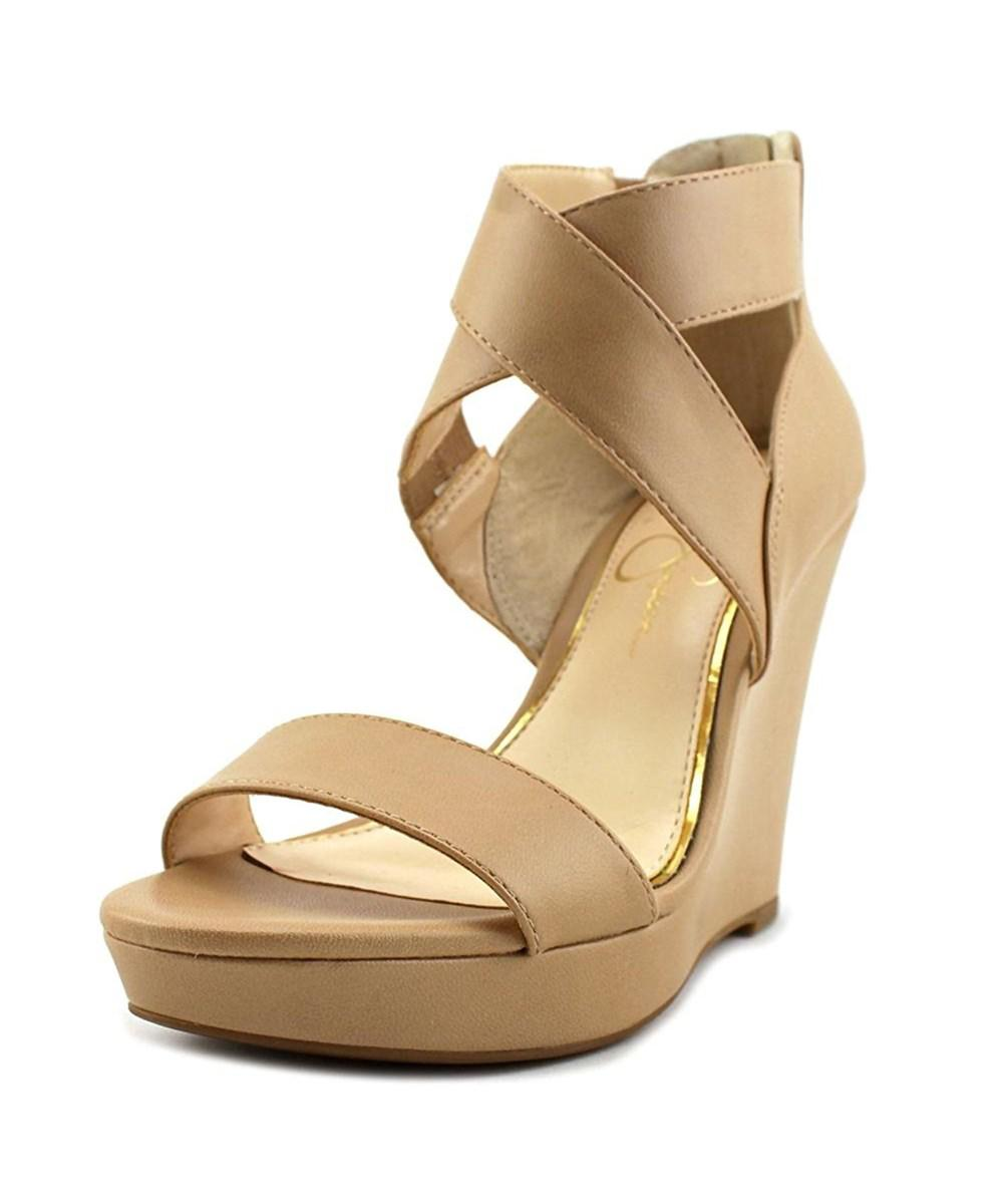 0ebf91225617 Jessica Simpson. Brown Jamilee Women Open Toe Synthetic Tan Wedge Heel