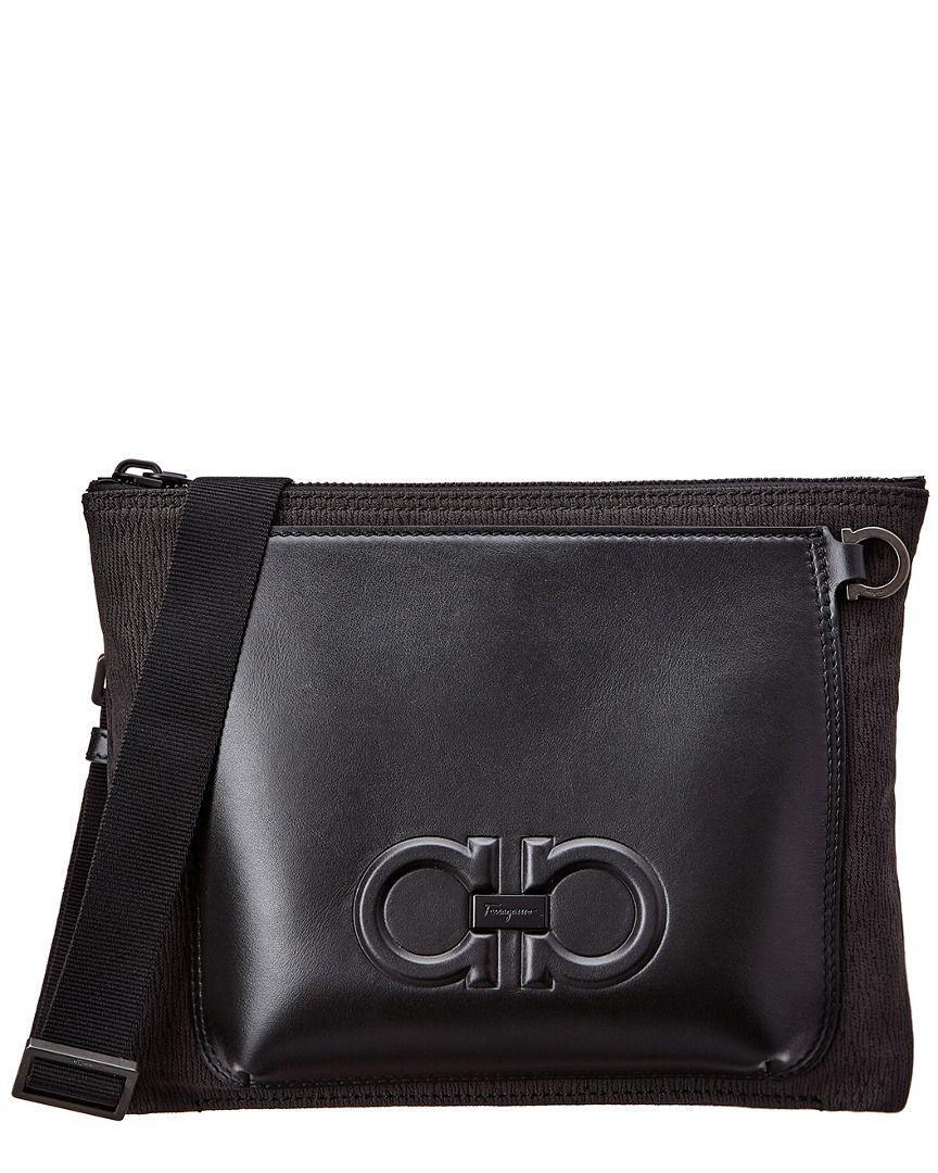 f1b9b1ef3a56 Lyst - Ferragamo Gancini Leather Shoulder Bag in Black for Men