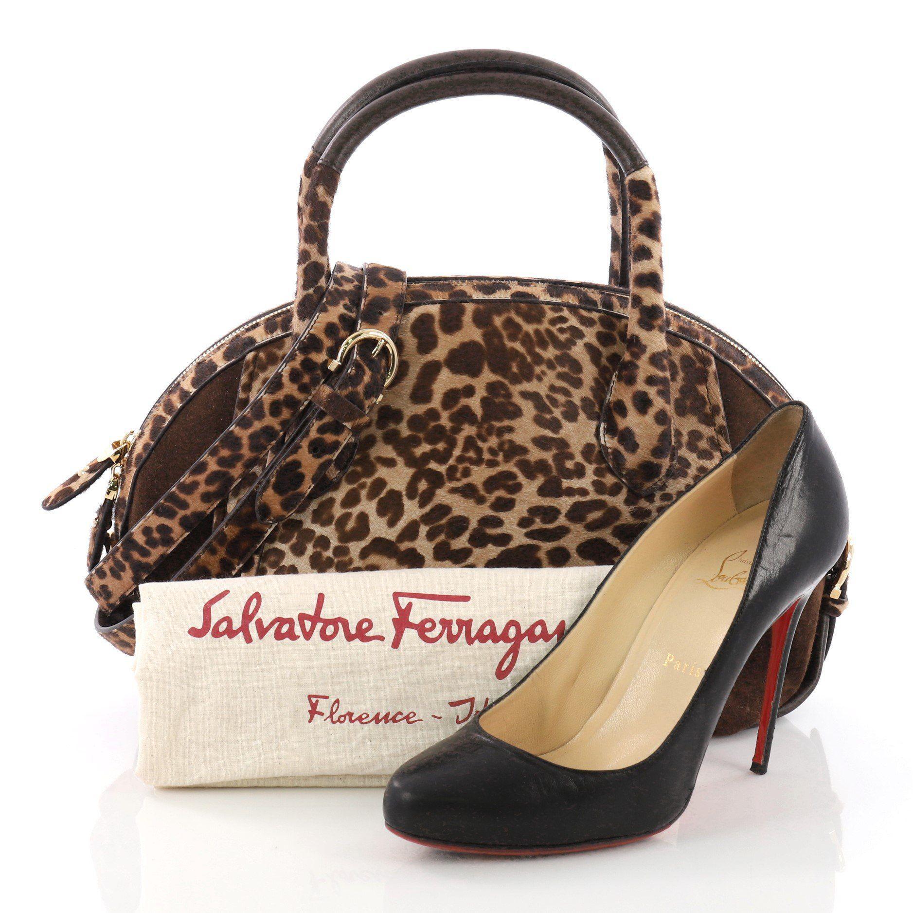540c93fb0d70 Lyst - Ferragamo Pre Owned Fiamma Satchel Suede And Calf Hair Large ...