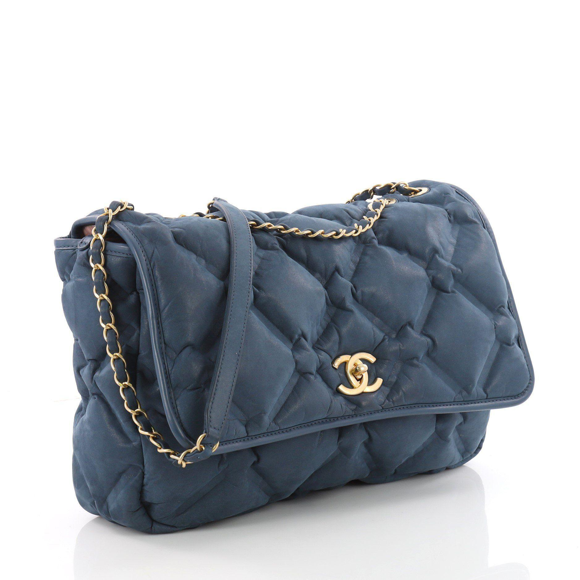adbc368e125fb7 Chanel - Blue Chesterfield Flap Bag Quilted Calfskin Jumbo - Lyst. View  fullscreen