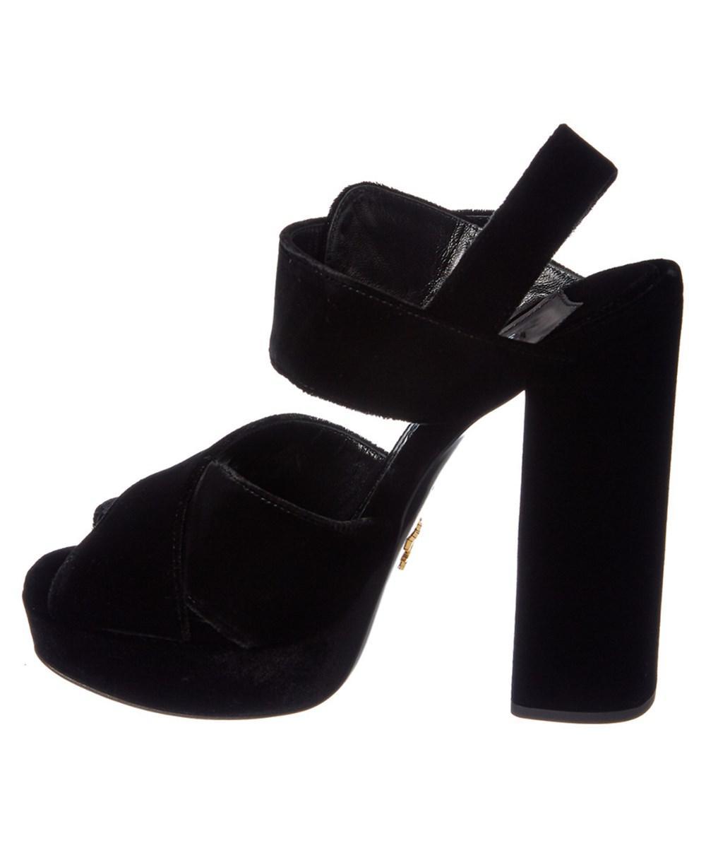 Prada Jewel-Embellished Velvet Platform Sandals cheap buy cHW0kY