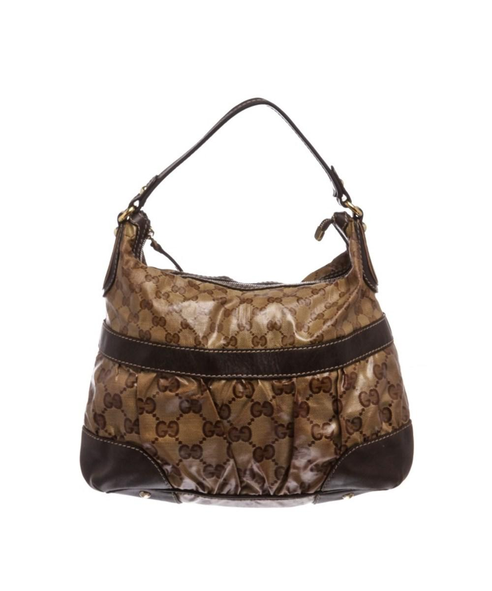 393a5da41a19 Lyst - Gucci Pre Owned - Brown Beige Coated Canvas Crystal Leather ...