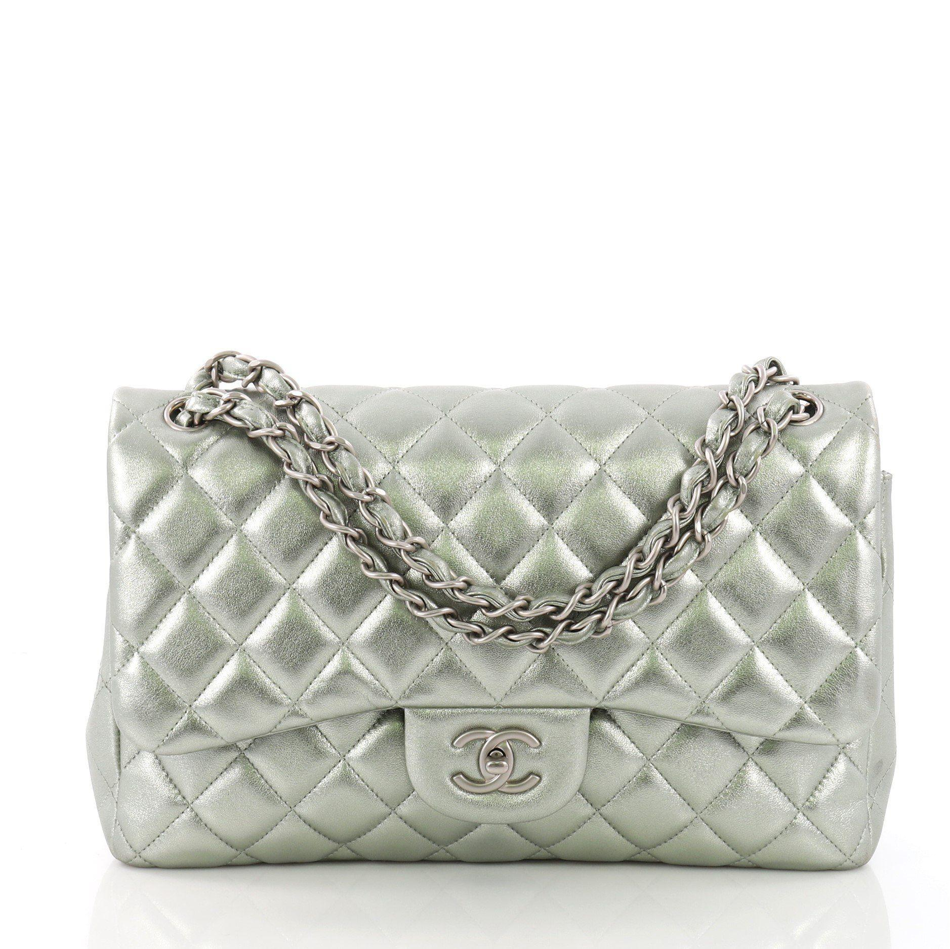 ad3839b58dc Lyst Chanel Pre Owned Clic Double Flap Bag Quilted Lambskin Jumbo