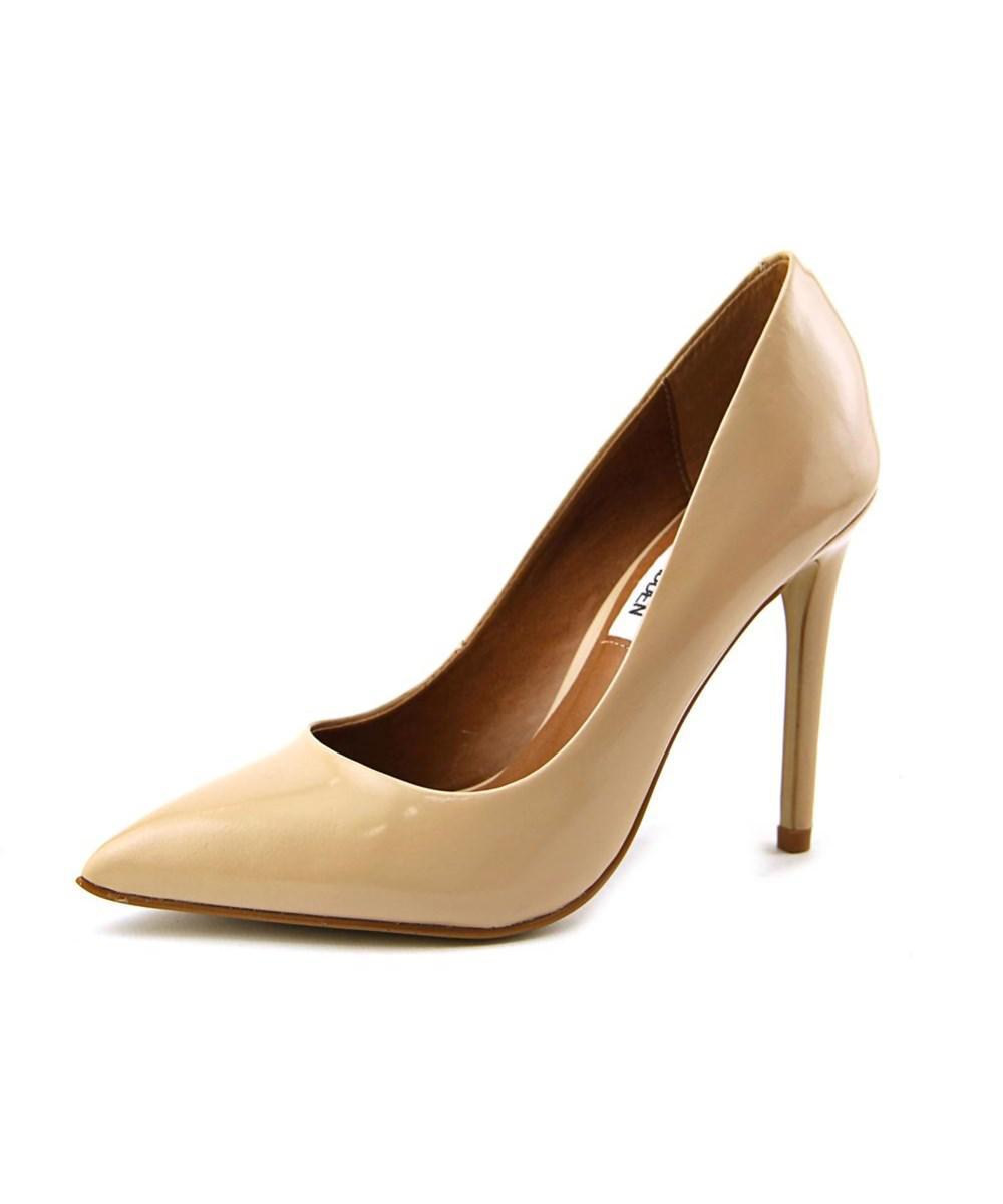 4e0b0597623 Lyst - Steve Madden Proto Women Pointed Toe Leather Nude Heels in ...