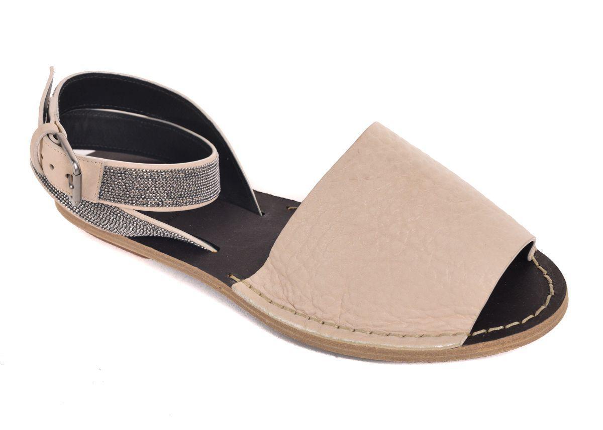 fda082e173c Lyst - Brunello Cucinelli Womens Tan Monili Ankle Strap Sandals in White