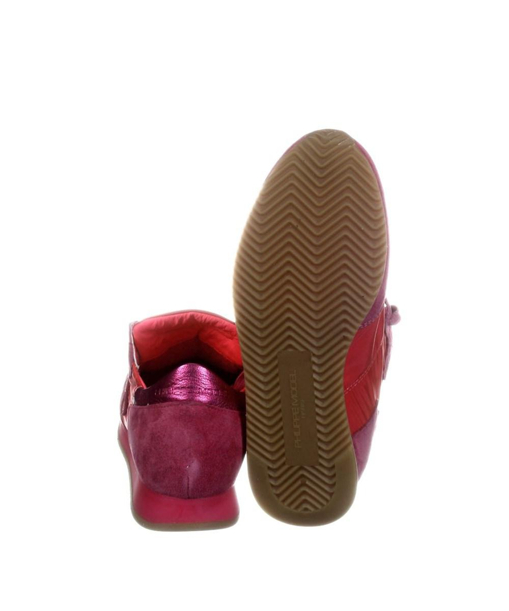 dd66f1d909e4 Lyst - Philippe Model Women s Burgundy fuchsia Leather Sneakers in Red
