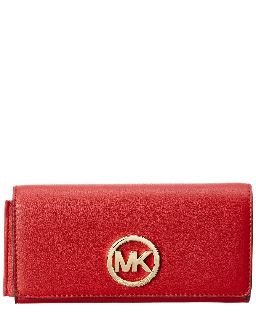 ded3b810a2e9 Lyst - Michael Michael Kors Fulton Leather Carryall Wallet in Red