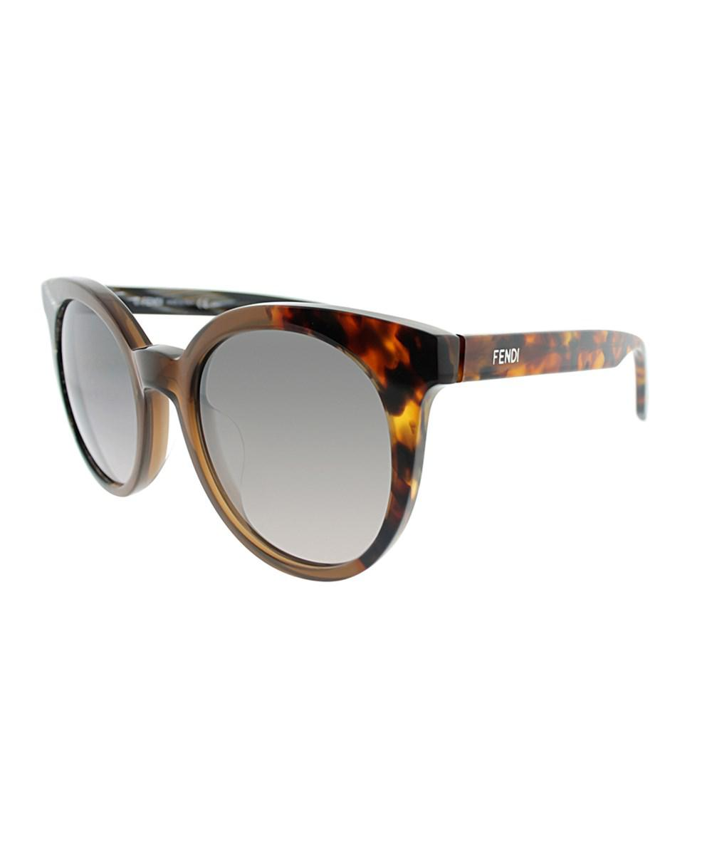 fb9403a3f35 Fendi By The Way Ff0064s Nei Horn brown whorn Round Sunglasses in ...