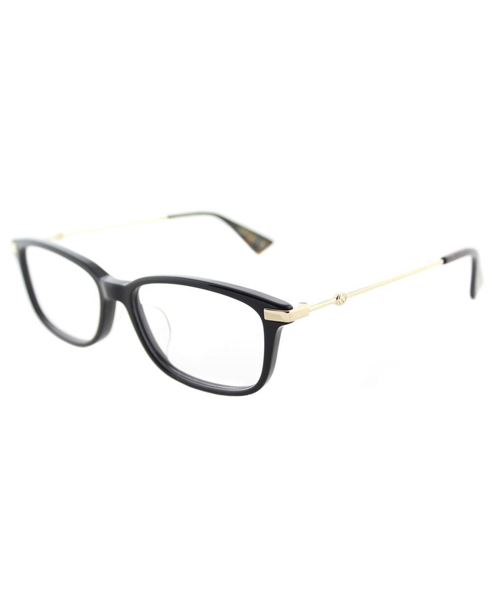 ec94e8d9522 Gucci Asian Fit Gg0112oa 001 Black Gold Rectangle Eyeglasses in ...