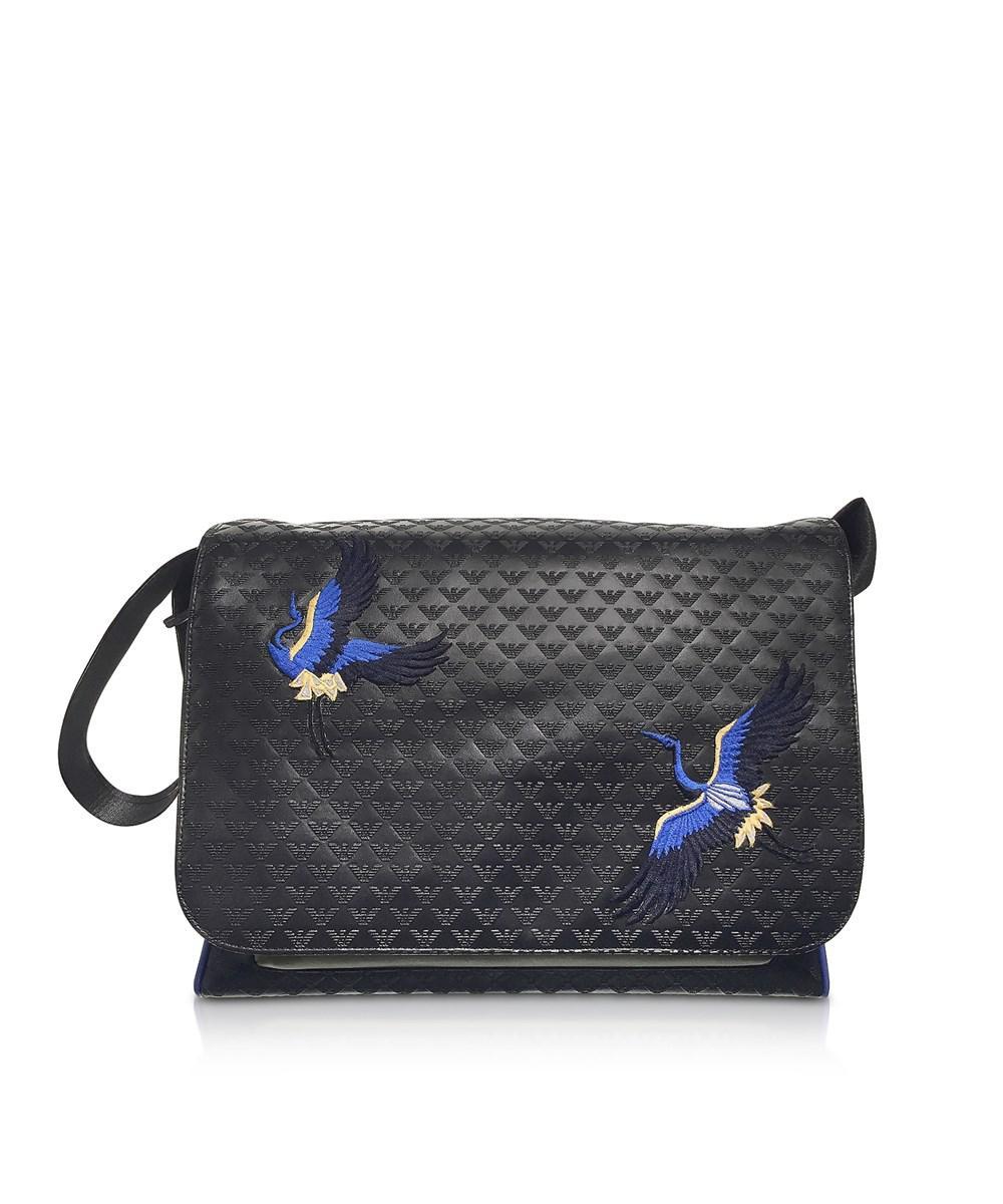 12cf4d4d493 Emporio Armani Men s Black Faux Leather Messenger Bag in Black for ...