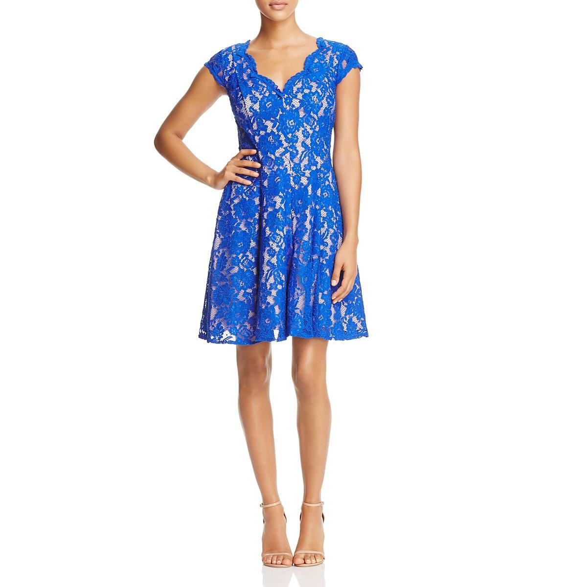 b4d64d0bd879d8 Lyst - Eliza J Womens V-neck Fit   Flare Casual Dress in Blue