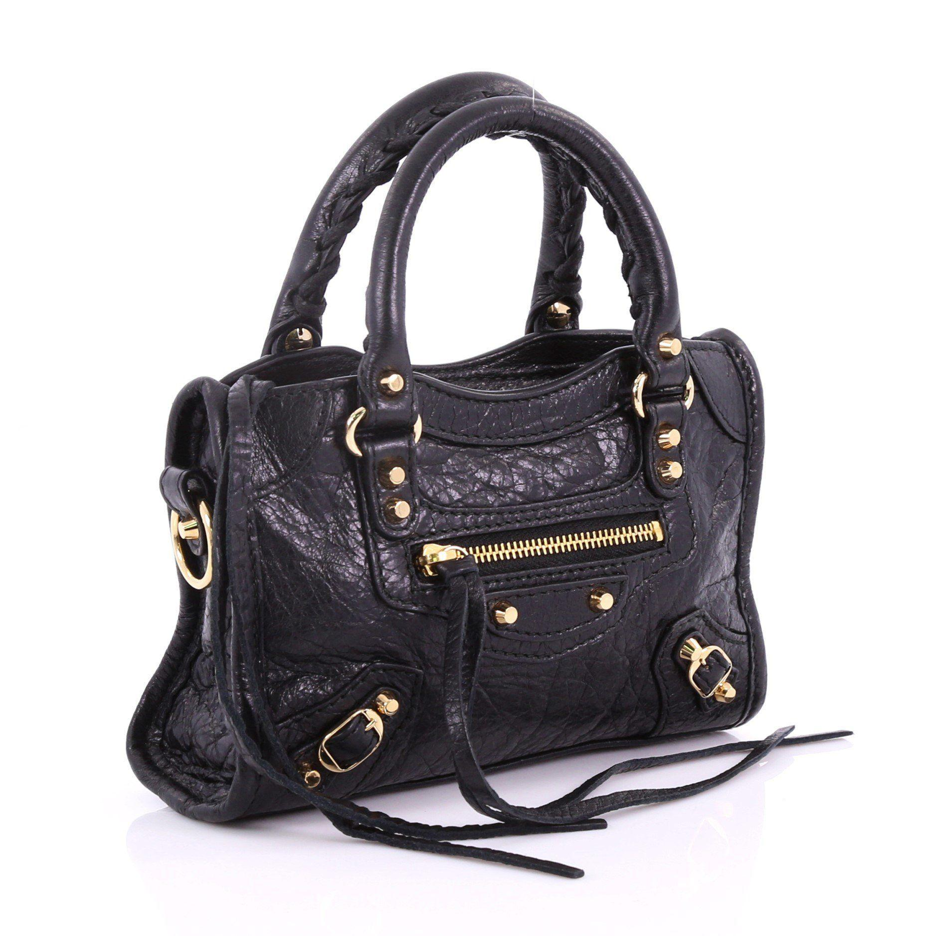 Balenciaga - Black Pre Owned City Classic Studs Handbag Leather Nano -  Lyst. View fullscreen 82cf7b978f8a4