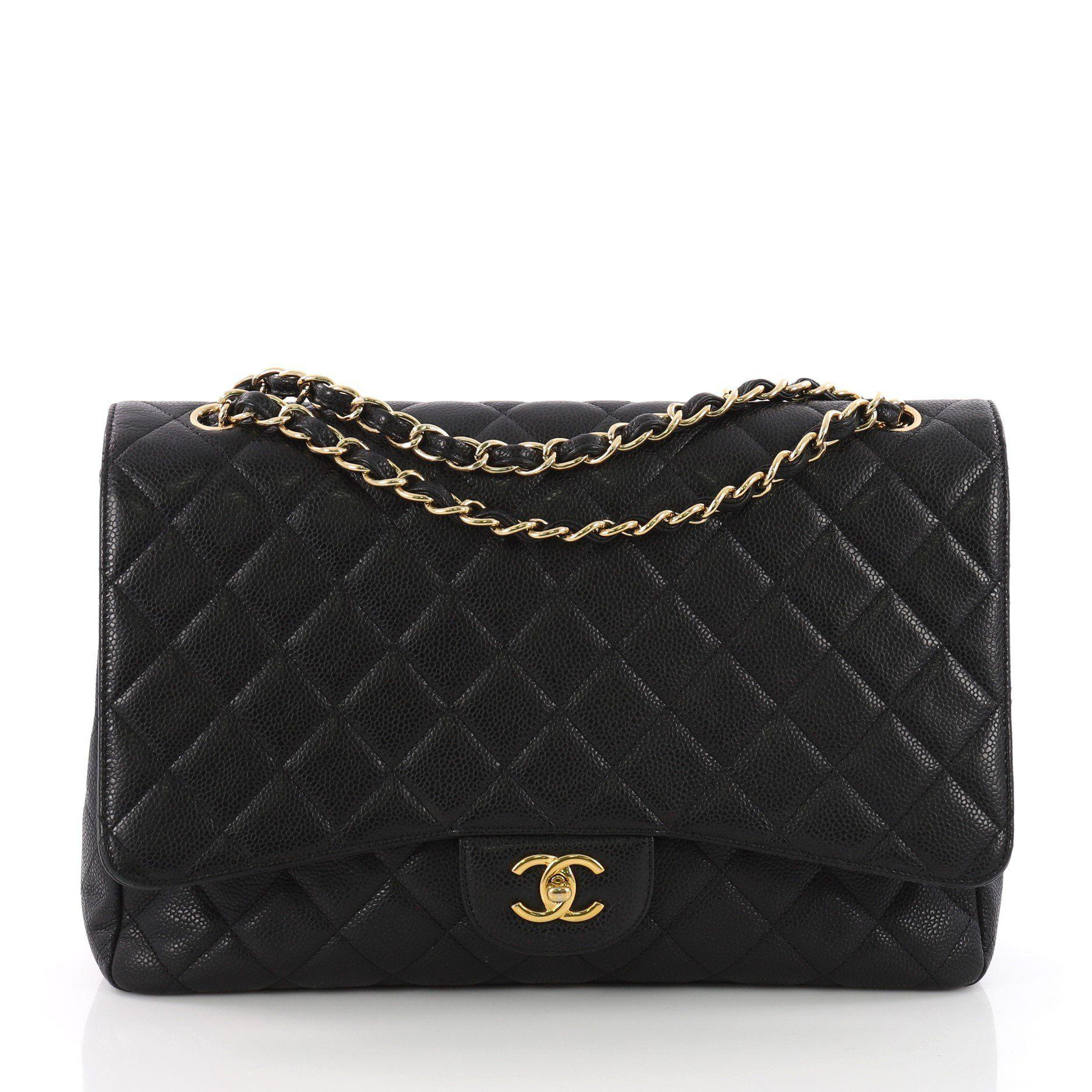 121a5cb78835e3 Lyst - Chanel Pre Owned Classic Single Flap Bag Quilted Caviar Maxi ...