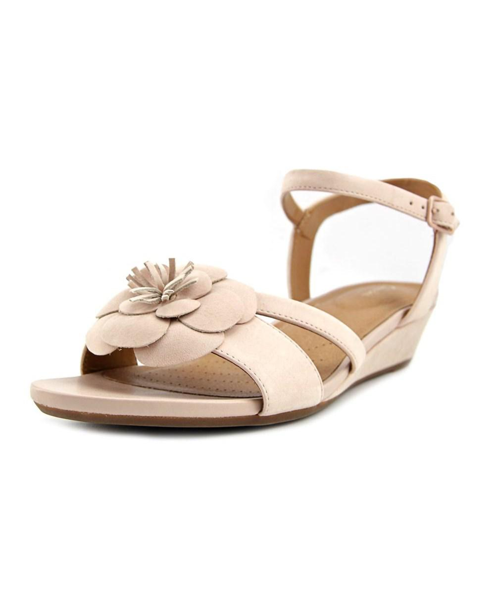 9c7cf33eb22d Lyst - Clarks Parram Stella Women Open Toe Leather Pink Wedge Sandal ...