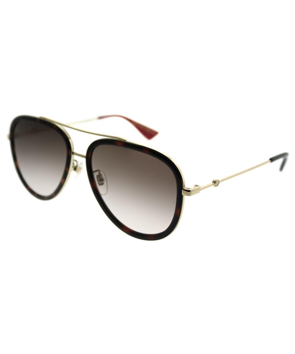 075d3b5e63 Gucci Gg0062s 012 Havana Gold Aviator Sunglasses in Metallic - Lyst