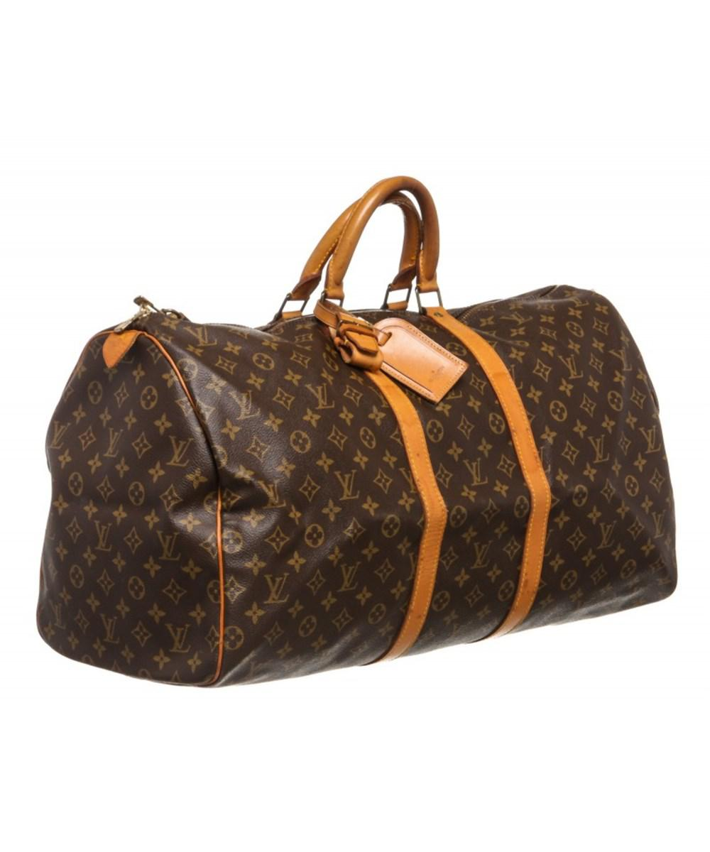 4e350884b Lyst - Louis Vuitton Pre Owned - Monogram Canvas Leather Keepall 55 ...