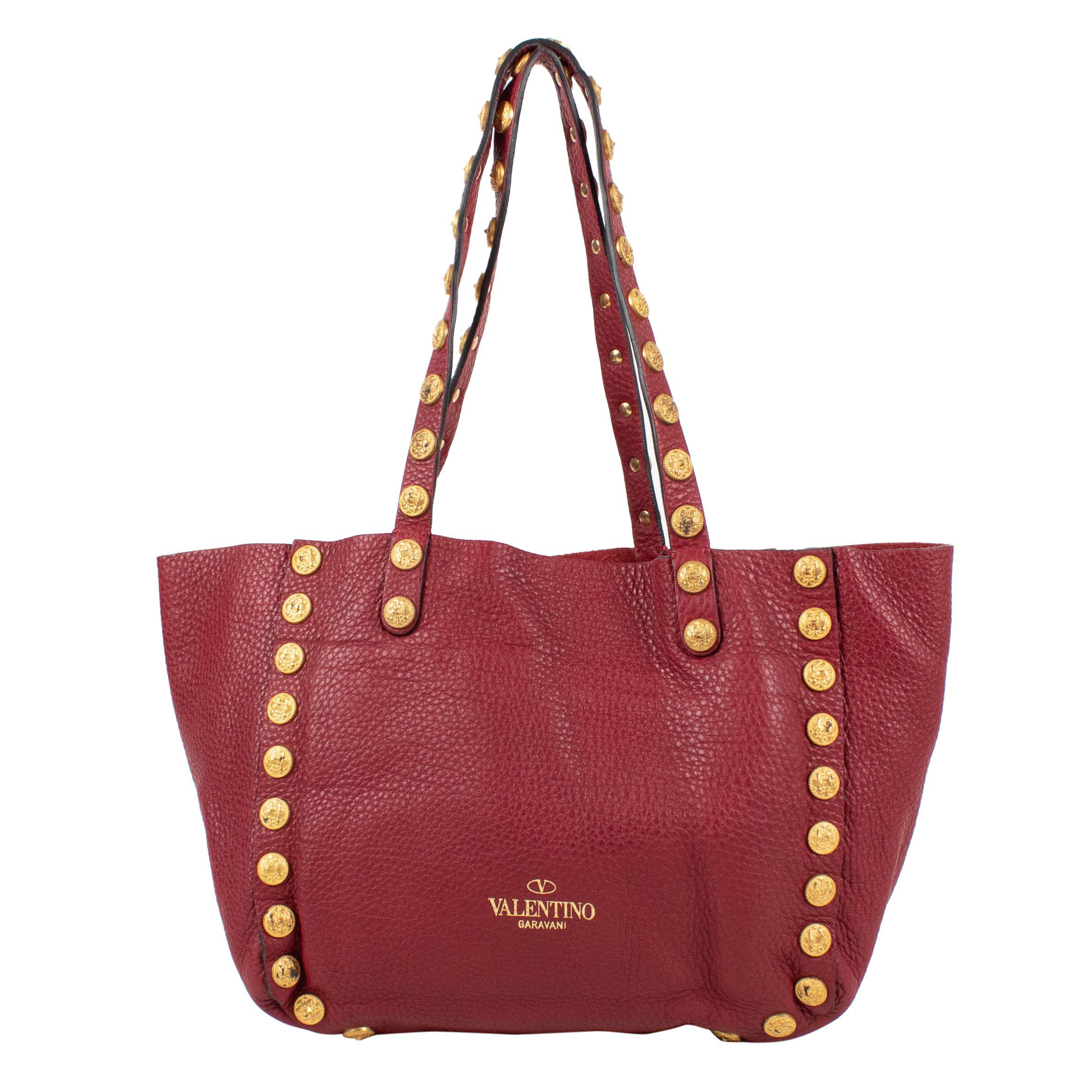 39c5000ca23e Lyst - Valentino Red Leather C-rockee Studded Hobo Tote Bag in Red