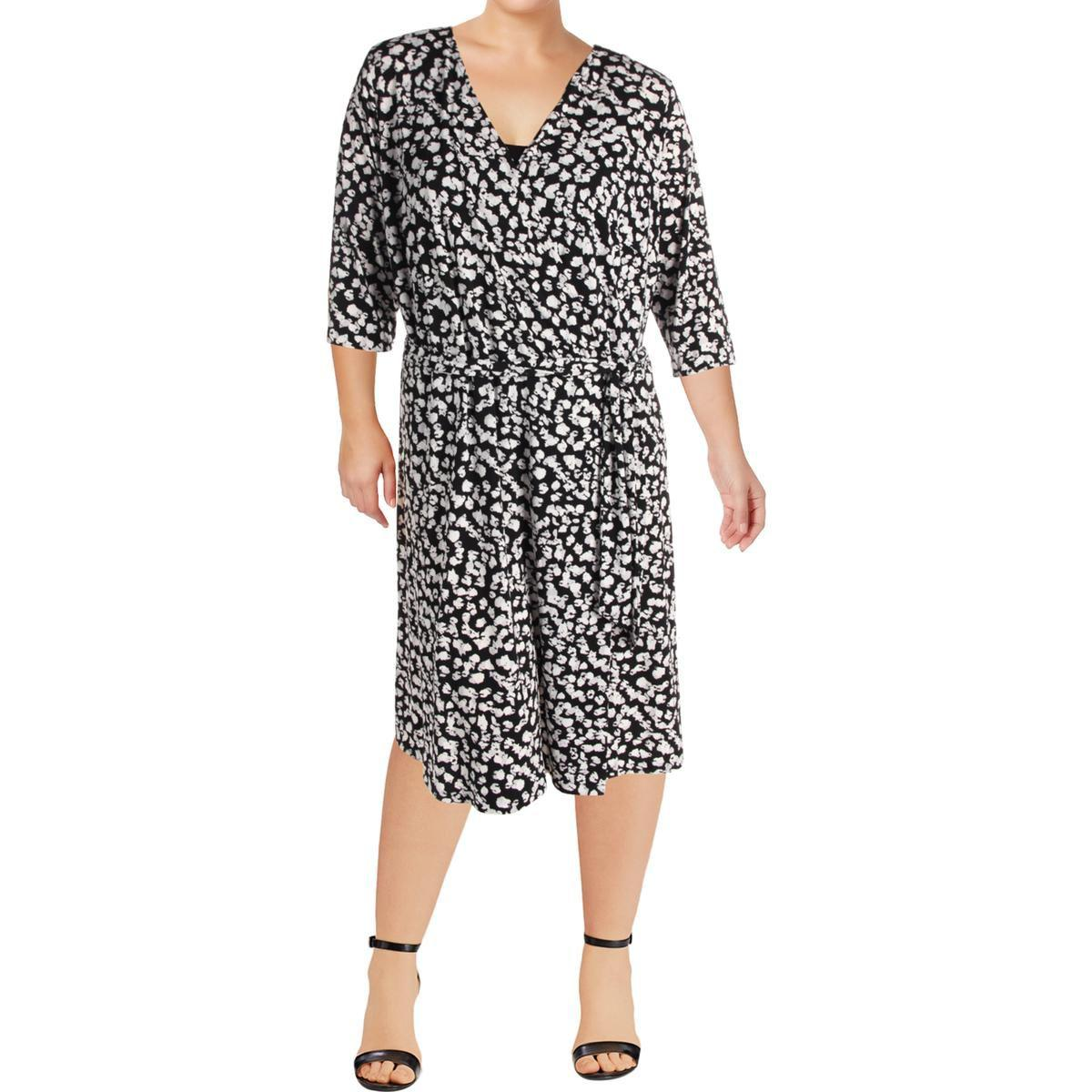 fc55c9328 Lyst - Vince Camuto Womens Plus Floral Print 3 4 Sleeve Wrap Dress ...