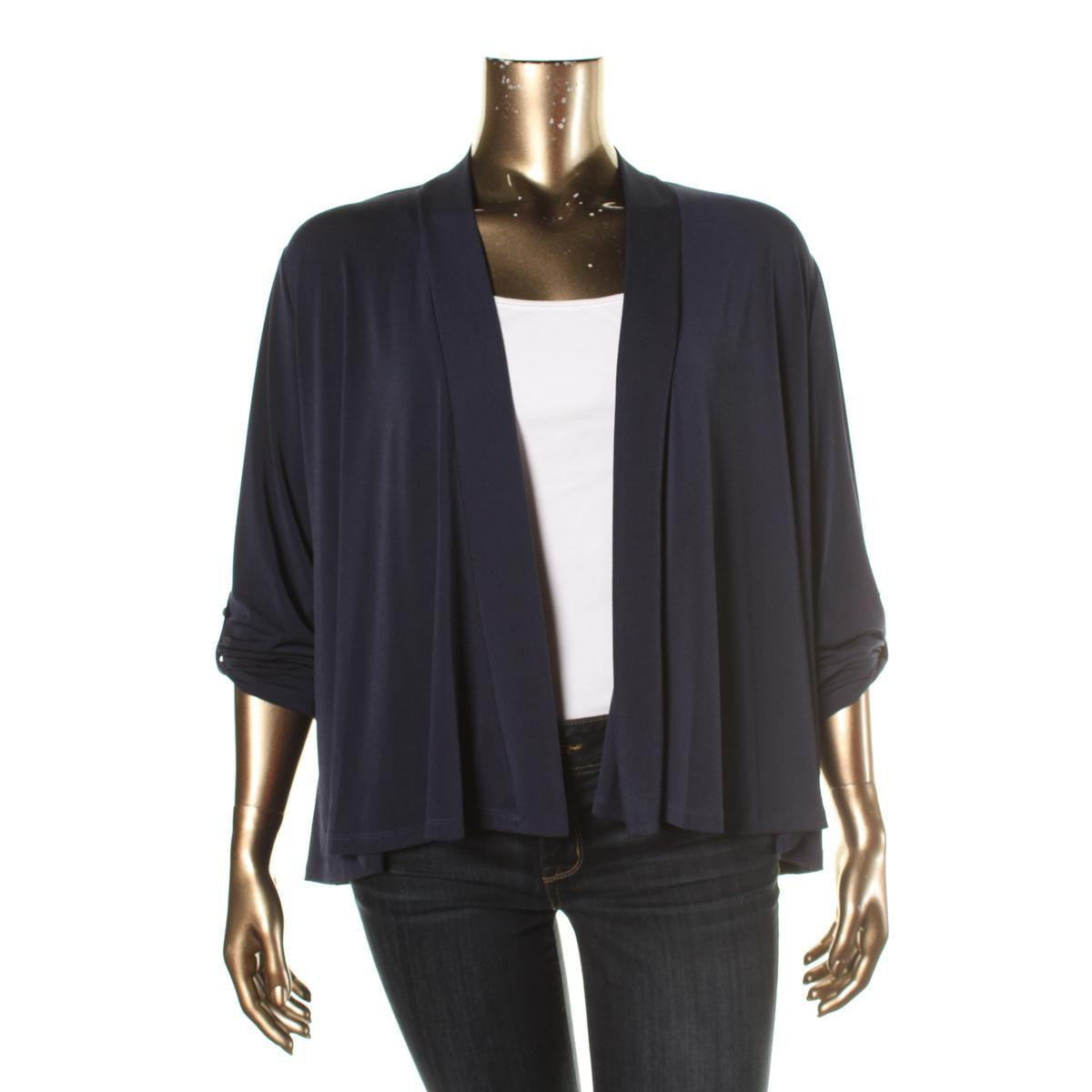 28797391fb38 Charter Club. Blue Womens Plus Matte Jersey Adjustable Sleeves Cardigan Top