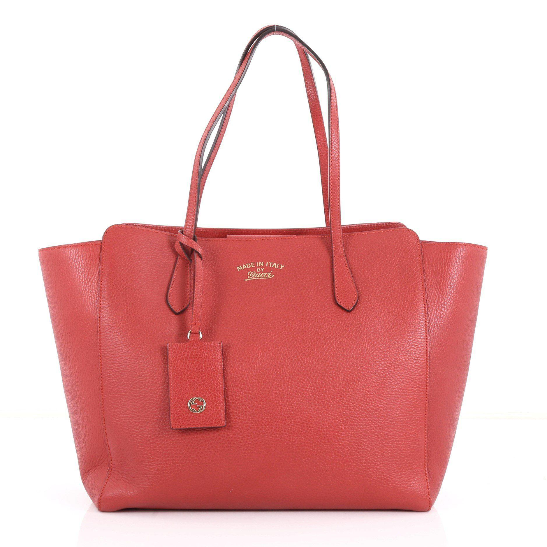 f71d5dc61ed7 Lyst - Gucci Pre Owned Swing Tote Leather Medium in Red