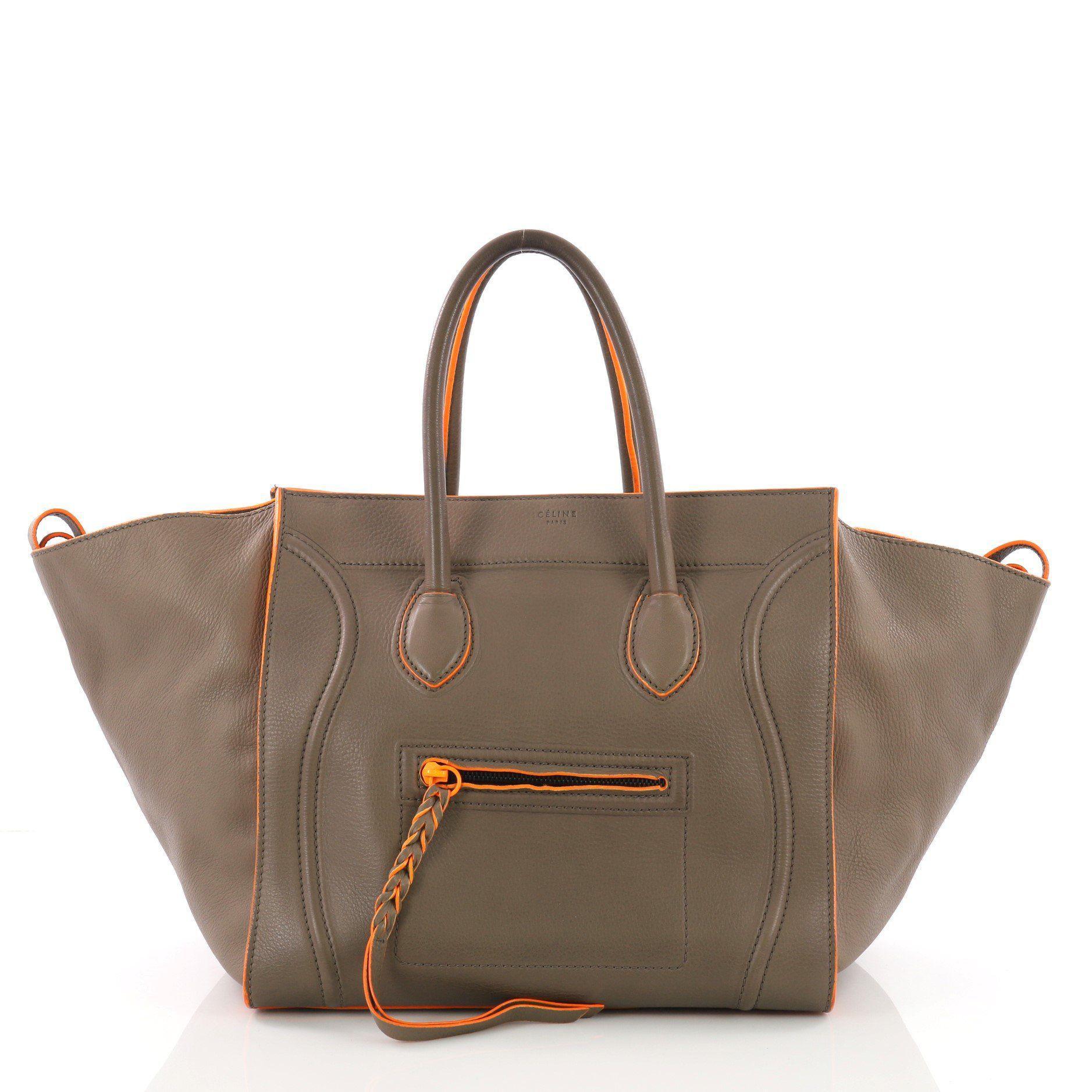 8aa269e843 Lyst - Céline Pre Owned Phantom Handbag Grainy Leather Medium in Brown