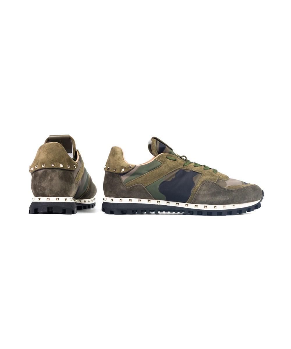45f74ff5e8 Lyst - Valentino Garavani Mens Green-mix Camo Rockstud Sneakers in ...