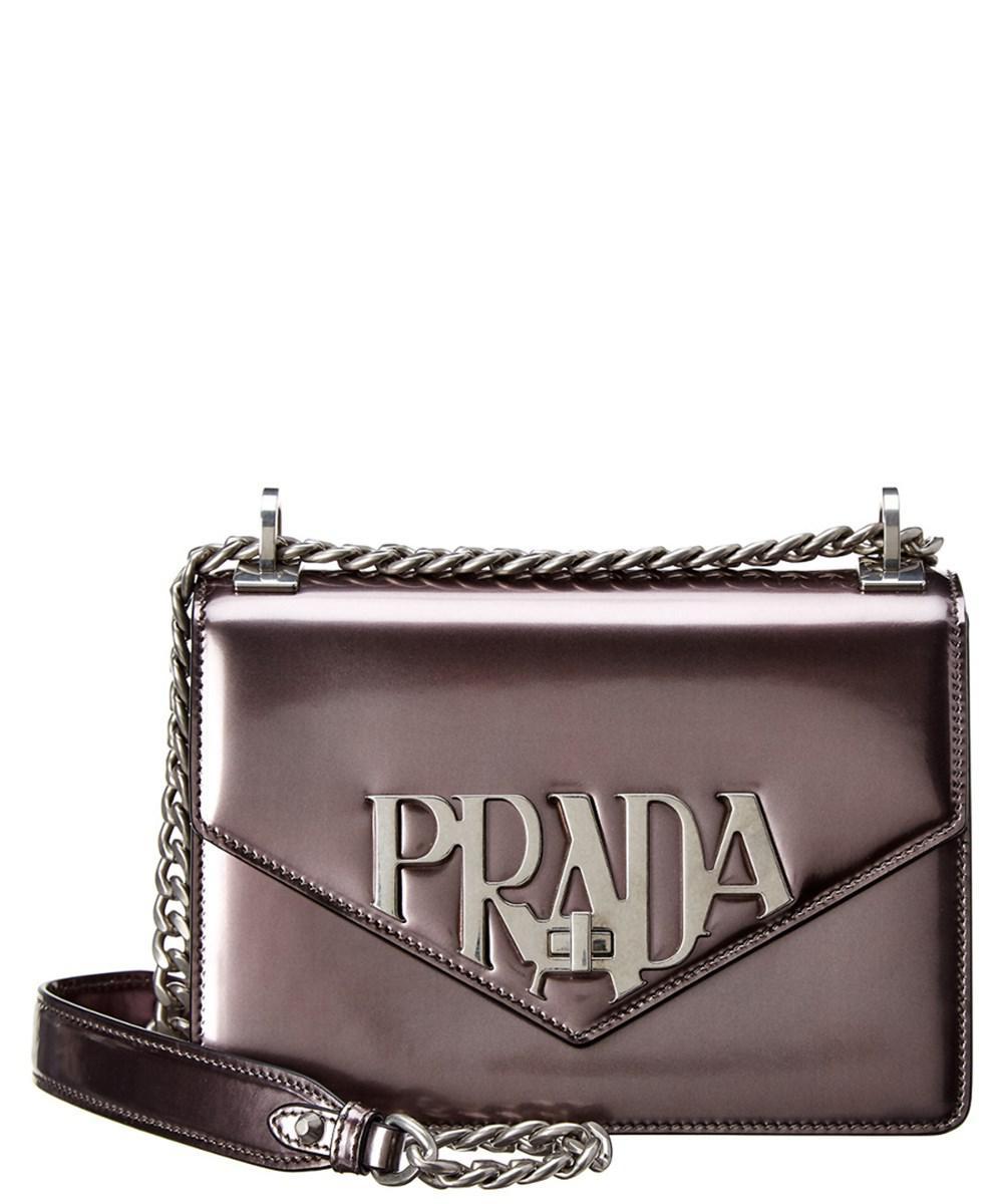 79ff770d7f Lyst - Prada Logo Plaque Leather Shoulder Bag in Gray