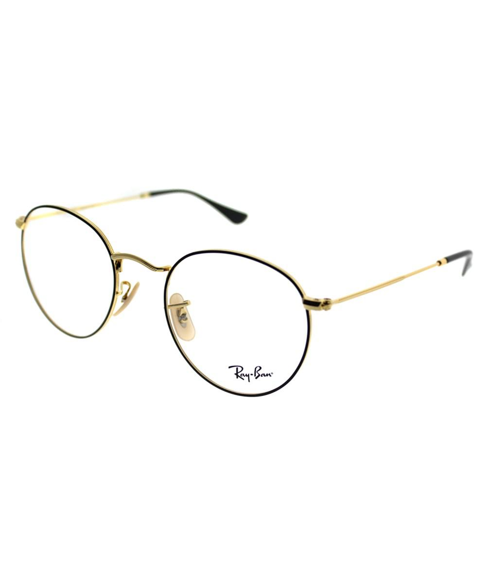 33e04bad811 Ray-Ban. Women s Metallic Round Metal 0rx3447v 2991 47mm Gold On Top Black  Round Eyeglasses