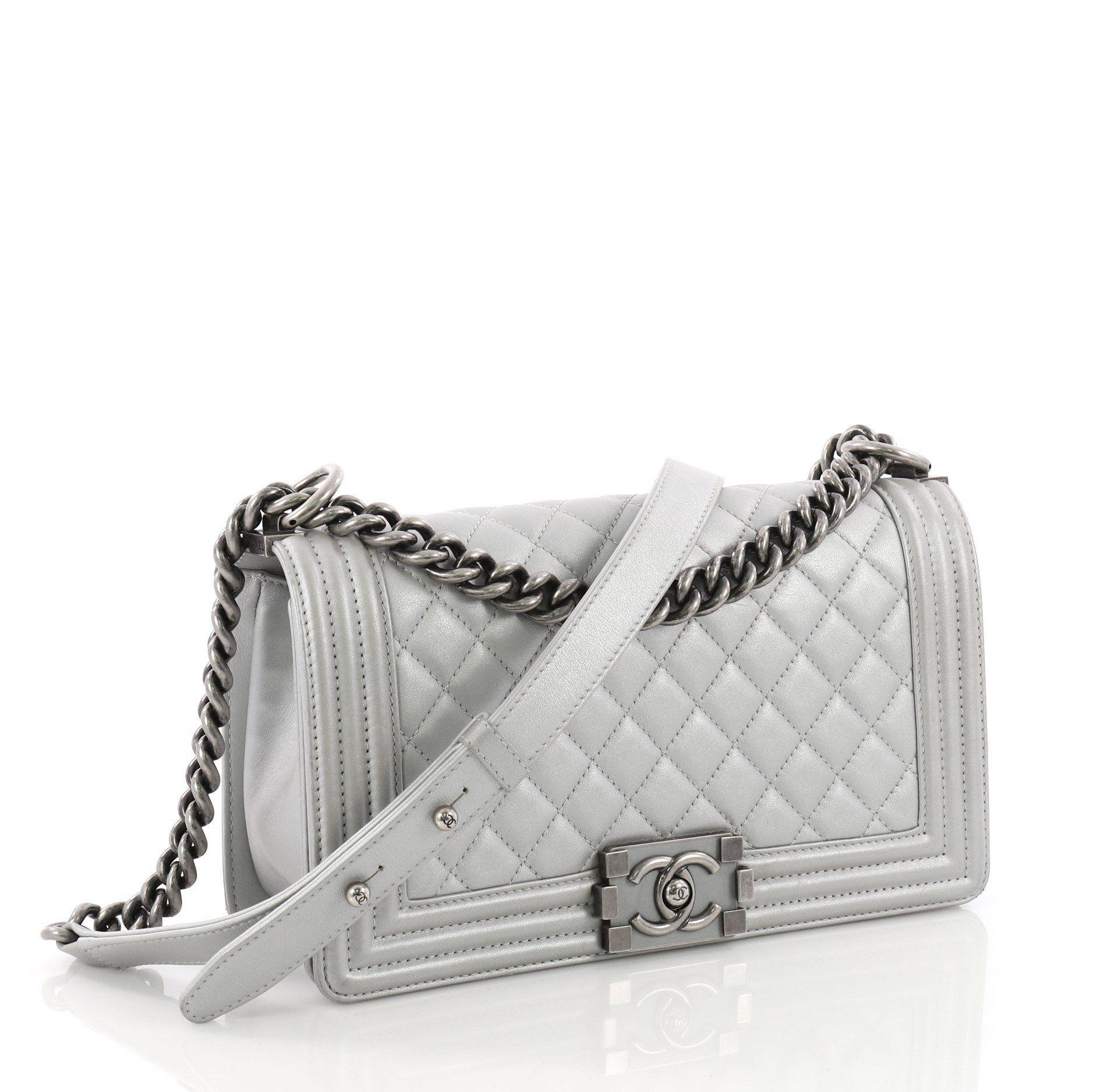 01edab8597b39f Chanel - Gray Pre Owned Boy Flap Bag Quilted Calfskin Old Medium - Lyst.  View fullscreen