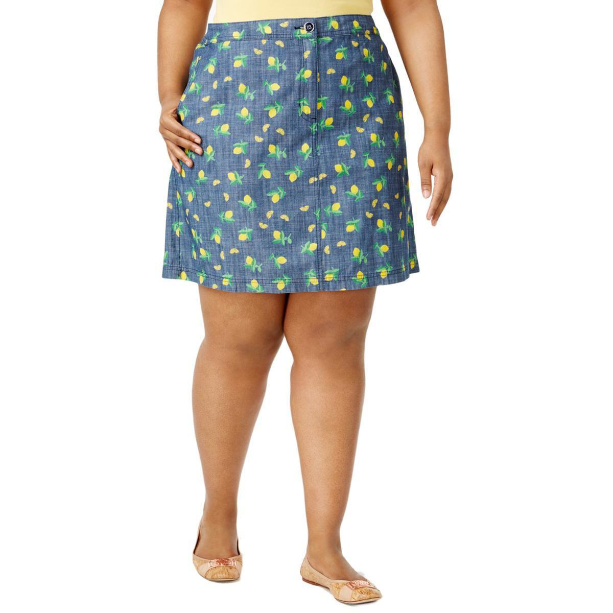 682b29131ac Lyst - Karen Scott Womens Plus Chambray Lemon Print Skort in Blue
