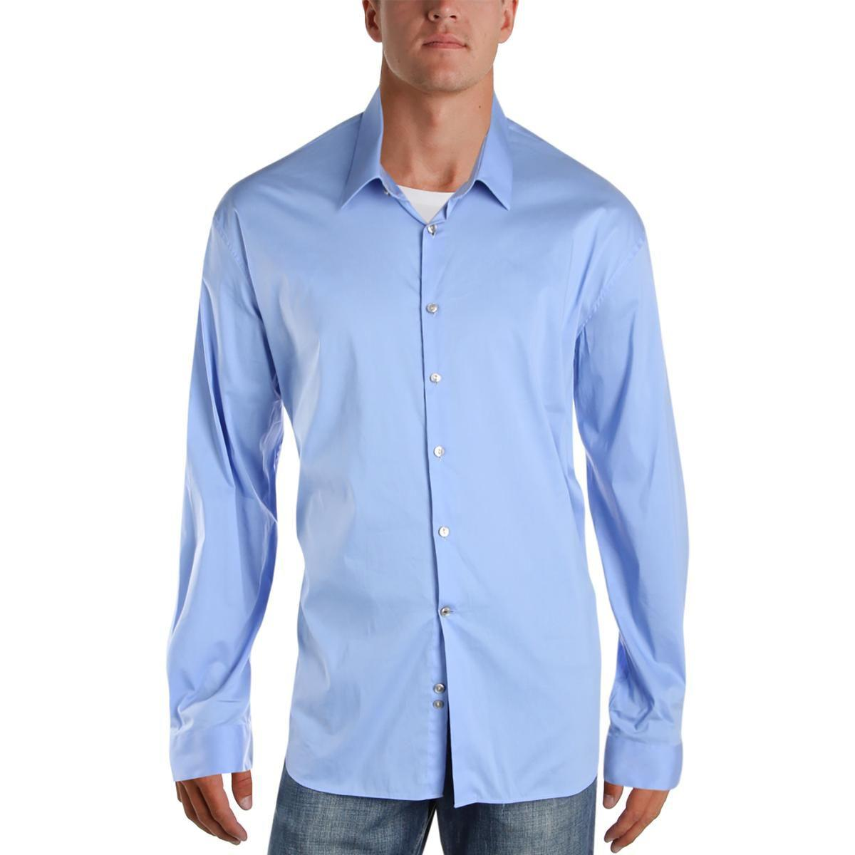 146ede7dfd8d Lyst - Calvin Klein Mens Extreme Slim Fit Solid Dress Shirt in Blue ...