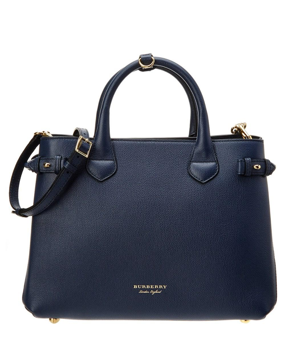 83d0acdc2fad Lyst - Burberry Medium Banner Check Canvas   Leather Tote in Blue