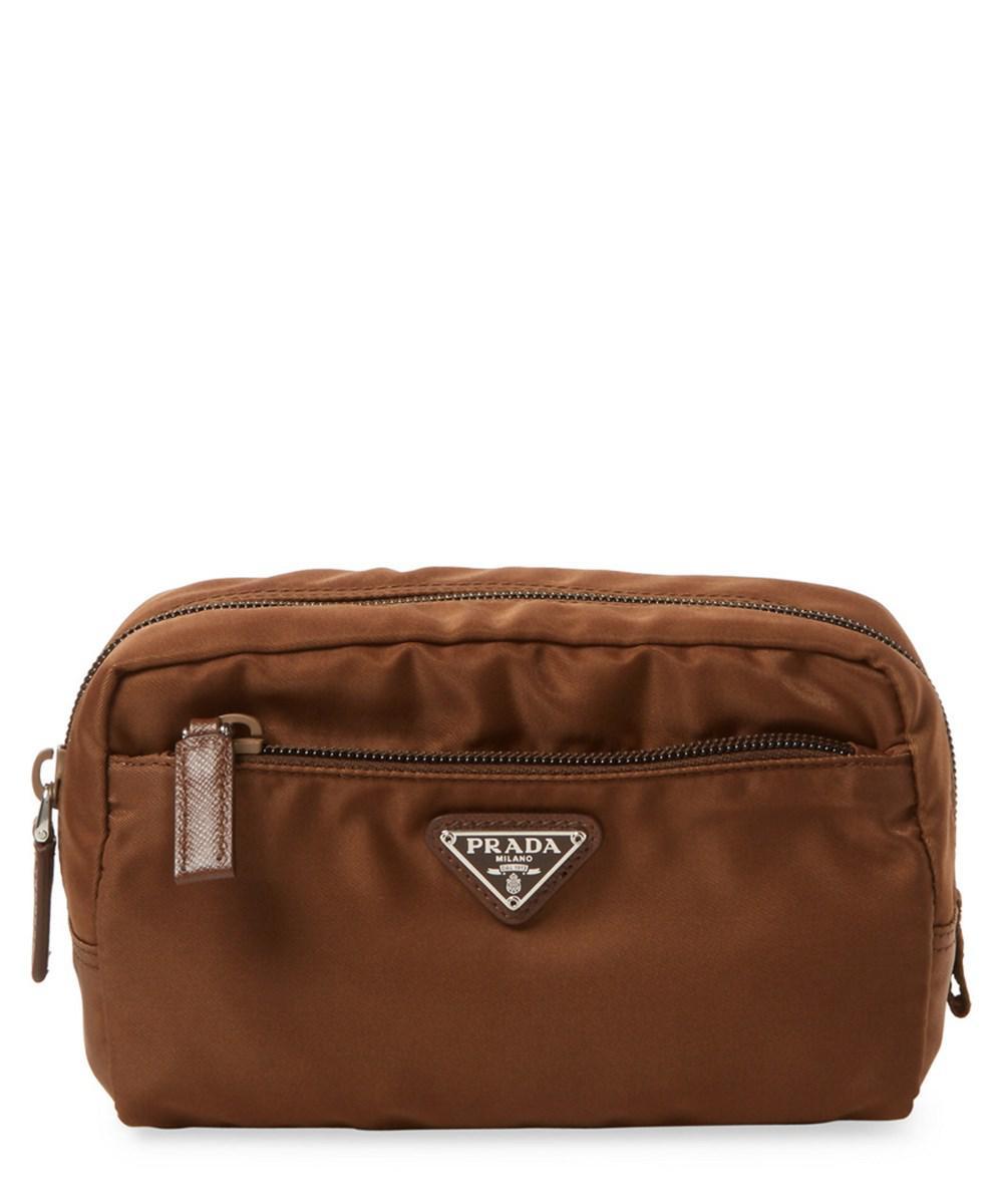 Prada - Brown Small Vela Nylon Pouch - Lyst. View fullscreen 6128a0a404447
