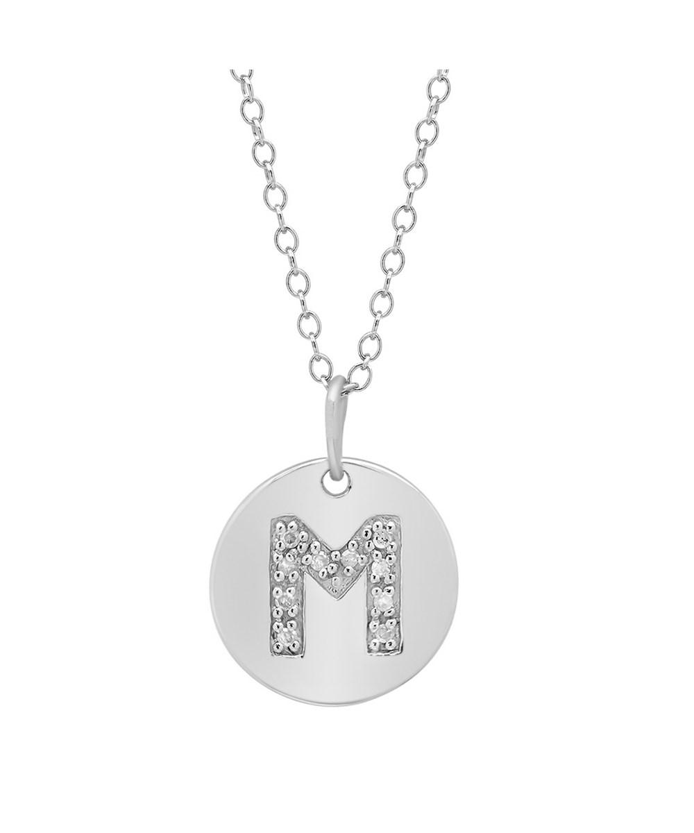 Lyst amanda rose collection sterling silver diamond initial m disc amanda rose collection womens metallic sterling silver diamond initial m disc pendant necklace aloadofball Image collections