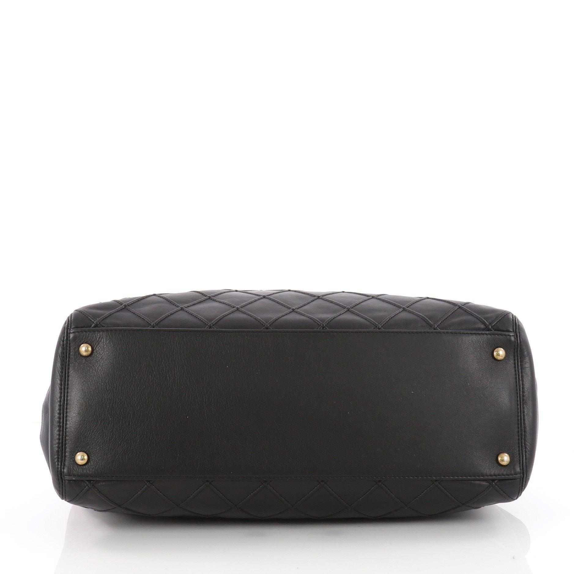 85987343be50d0 Lyst - Chanel Pre Owned Cosmos Satchel Quilted Calfskin Large in Black