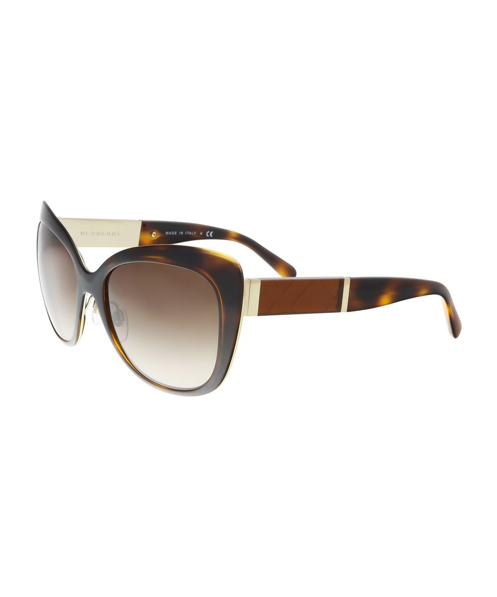 c70ebcbd9154 Lyst - Burberry Be3088 121713 Light Gold Check Square Sunglasses in ...
