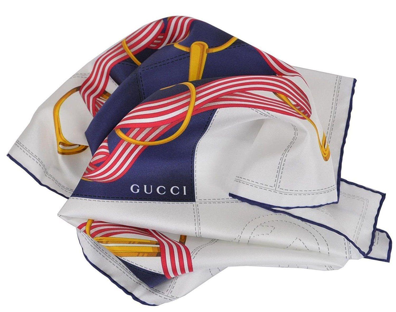 c683c77a1da Gucci - Women s Blue White Silk Interlocking GG Twill Neck Scarf 352213 -  Lyst. View fullscreen