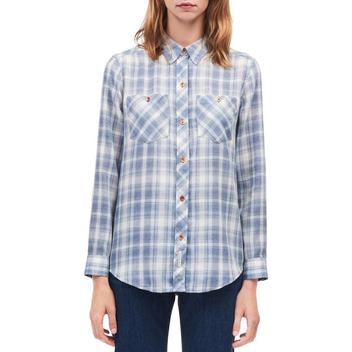 f3a302c1ef4e99 Lyst - Calvin Klein Womens Woven Plaid Button-down Top in Blue