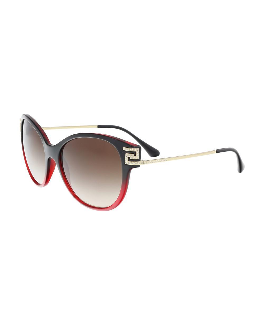 01201043d12d7 Lyst - Versace Ve4316b 507513 Transparent Red Gradient Black Cateye ...