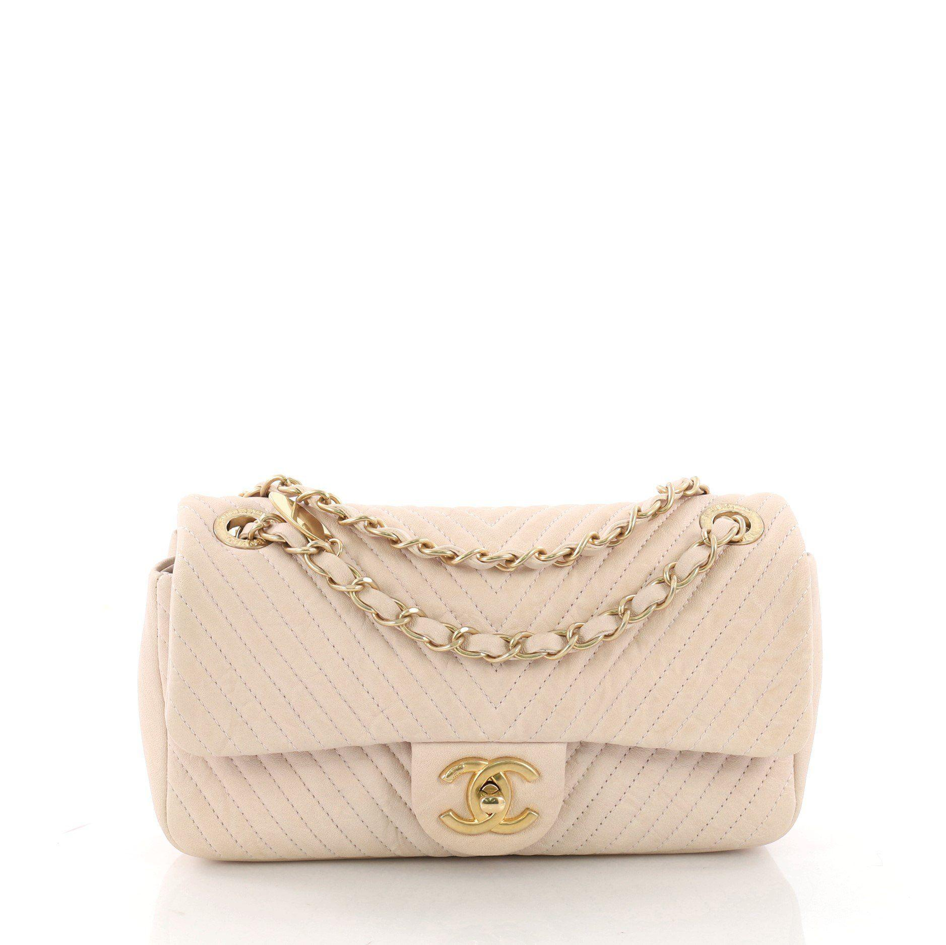 Chanel. Women s Pre Owned Medallion Charm Flap Bag Chevron Wrinkled Lambskin  Small 911f9a661