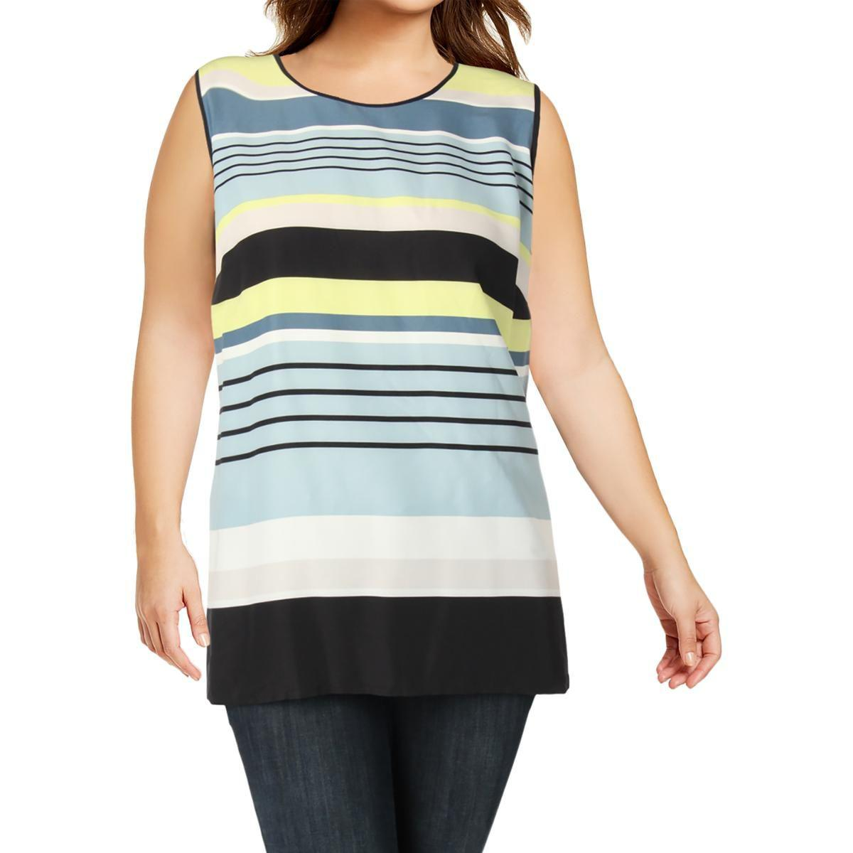 ade18a654ccc4 Lyst - Vince Camuto Womens Plus Striped Sleeveless Tunic Top in Blue