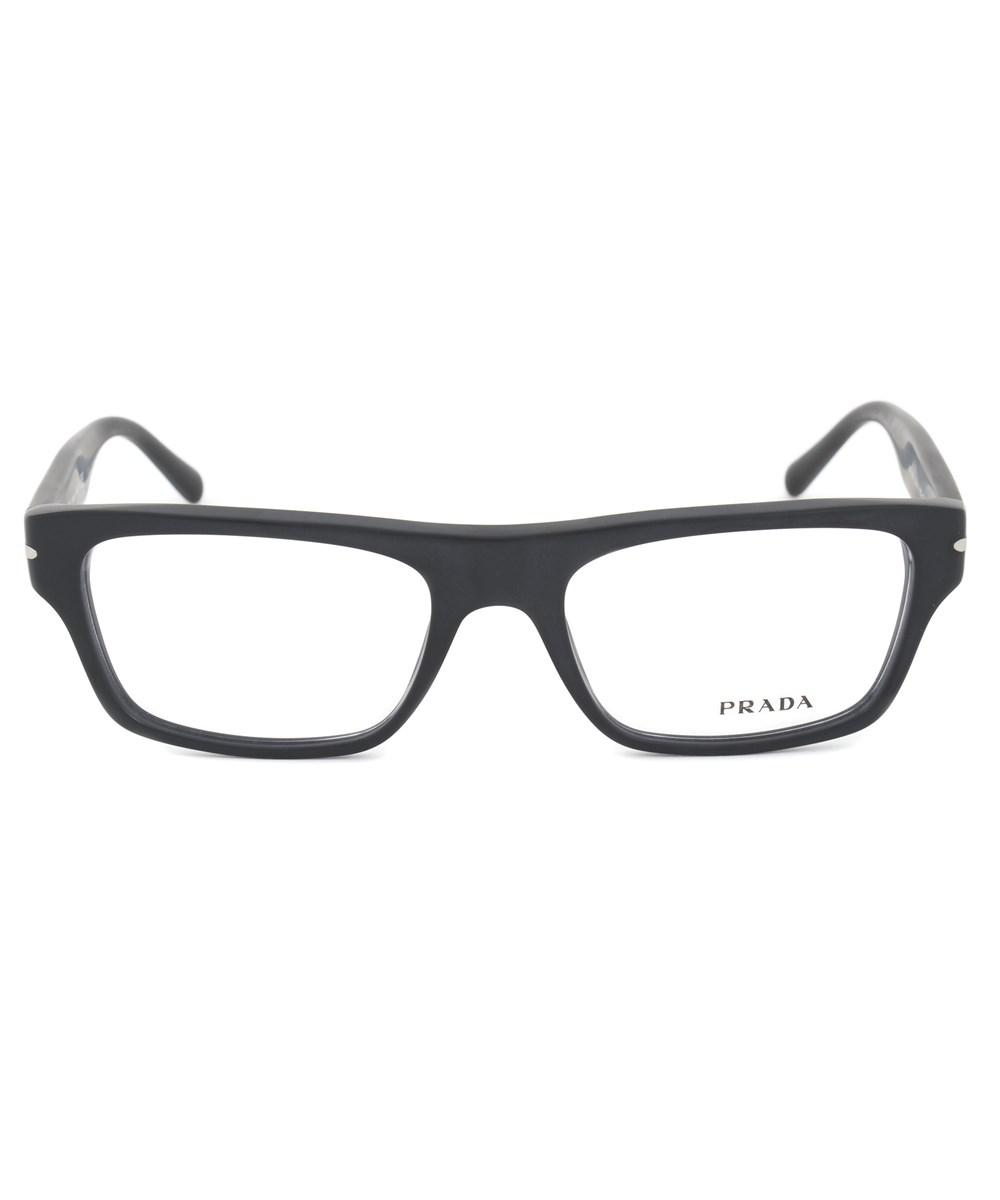 Lyst - Prada Pr18rv 1bo1o1 Rectangle Eyeglasses | Matte Black Frame ...