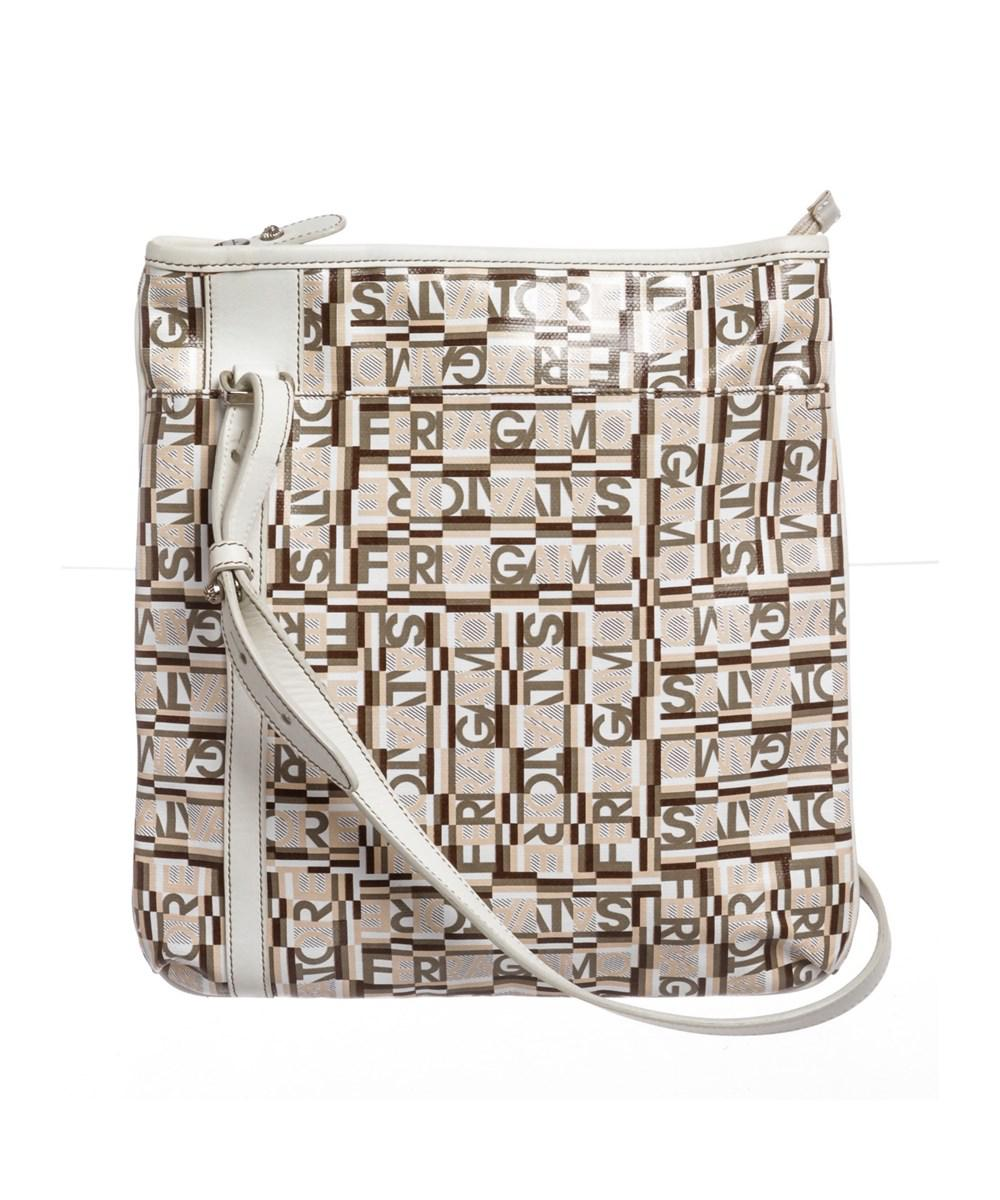 5fdadf783047 Lyst - Ferragamo White Multicolor Coated Canvas Crossbody Bag in White